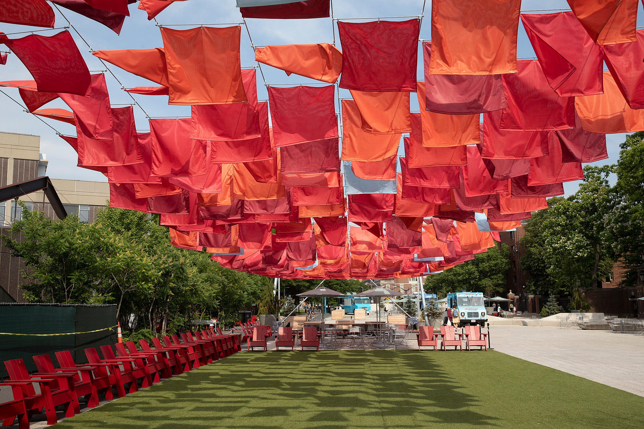 Red fabric flowing in the wind