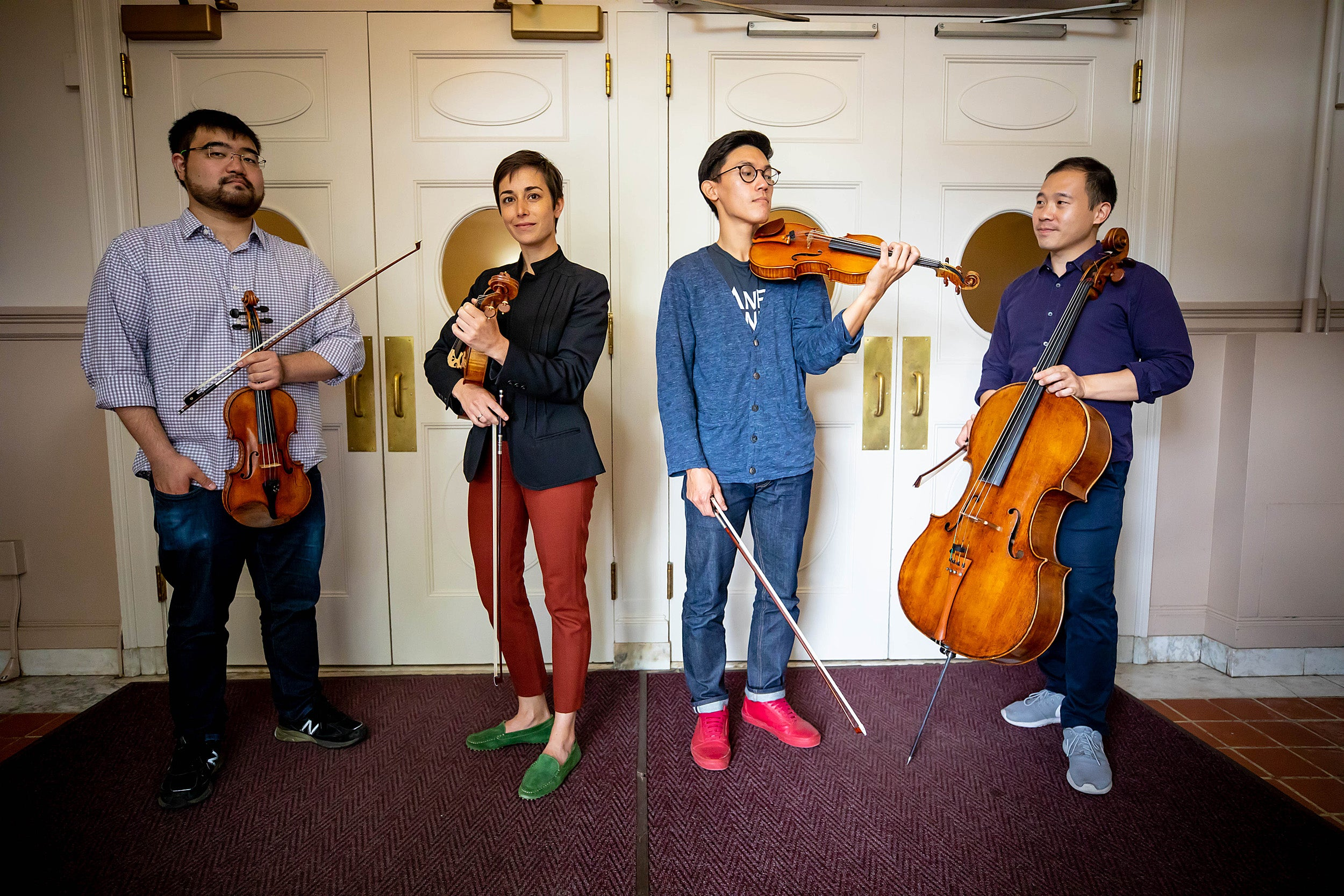 The Parker Quartet — Ken Hamao (from left), Jessica Bodner, Daniel Chong, and Kee-Hyun Kim — have been Blodgett Artists-in-Residence at Harvard since 2014.