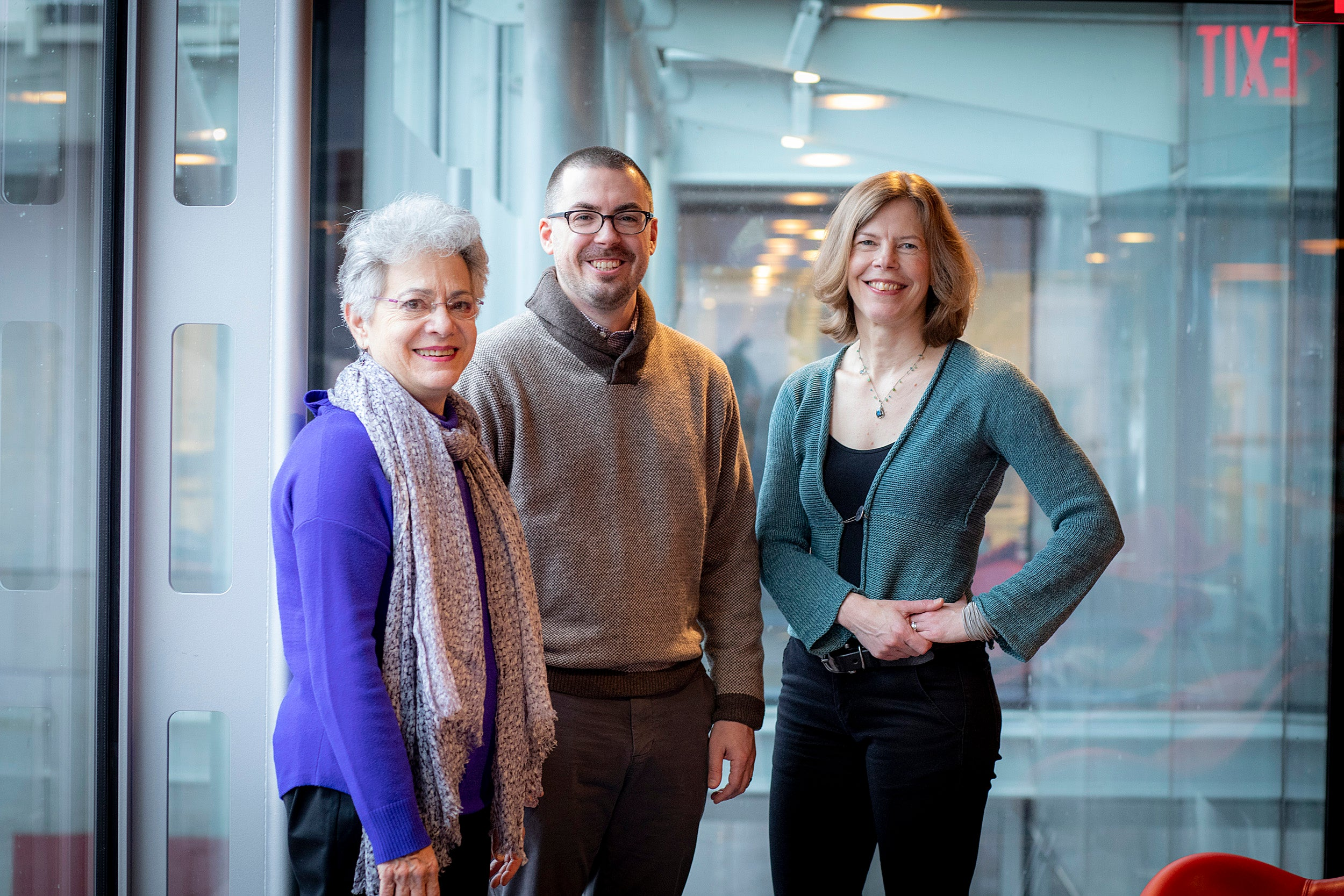 Barbara Grosz (from left), Jeff Behrend, and Allison Simmons