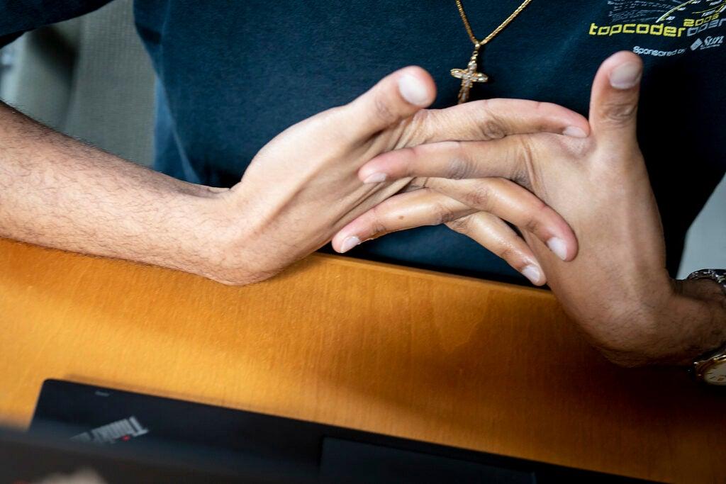 Hands flexing