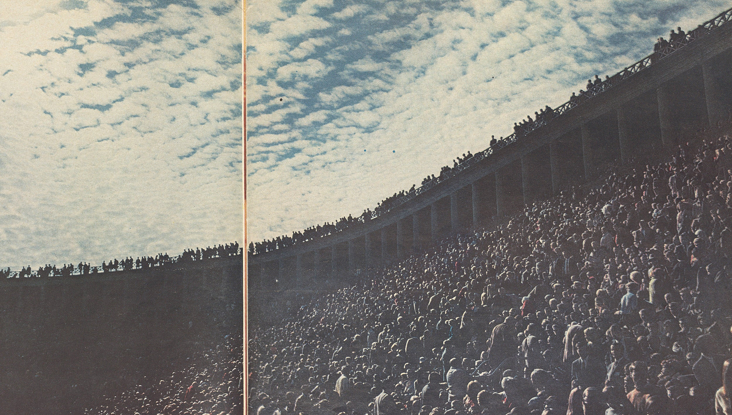 Students filled Harvard Stadium for a rally.