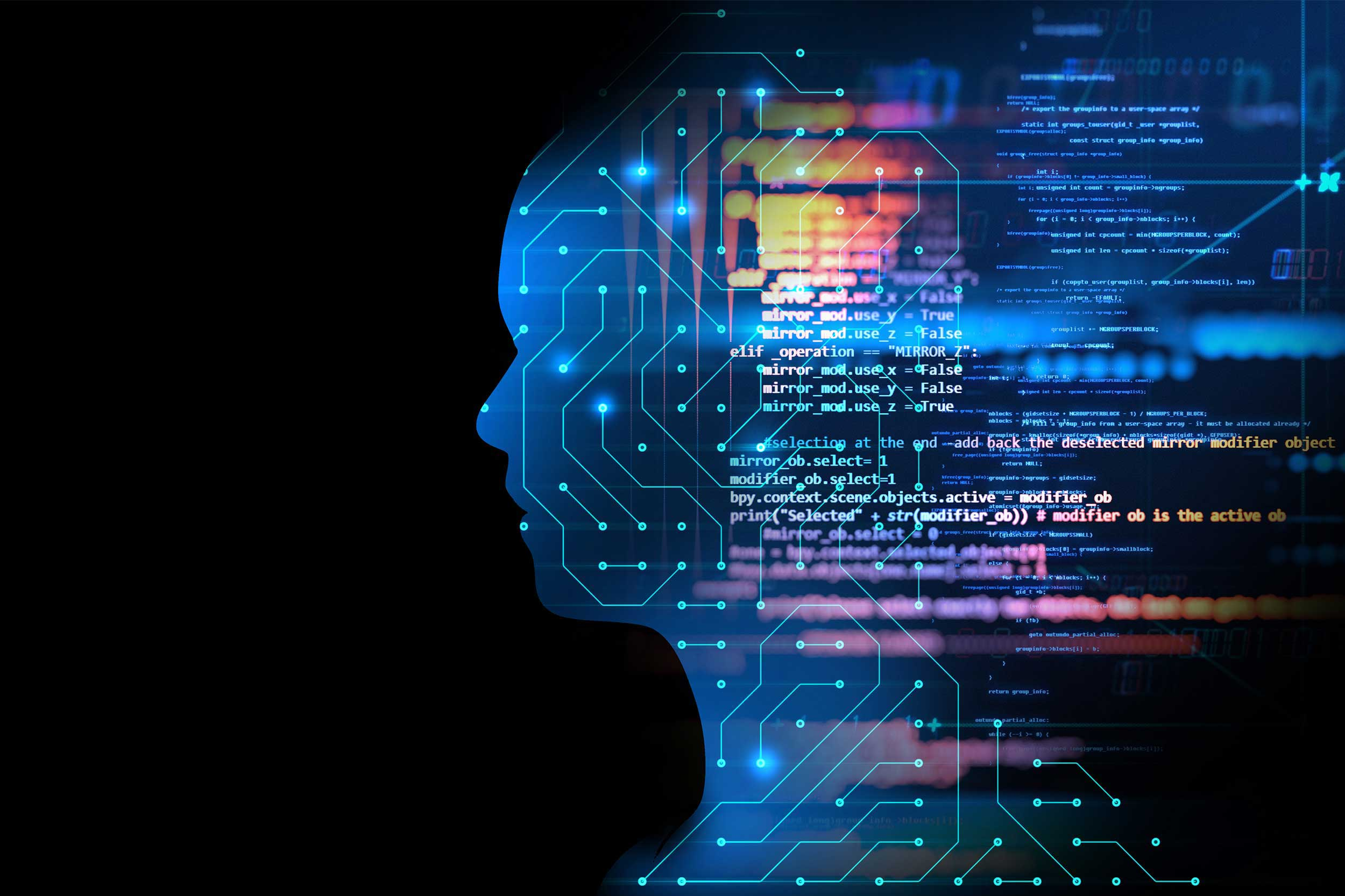virtual human 3dillustration on blue circuit board background represent artificial intelligence AI