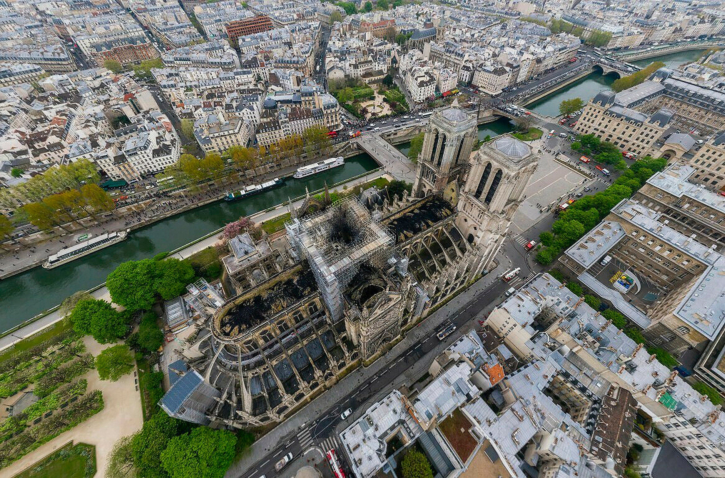 Overhead view of fire-damaged Notre-Dame cathedral.