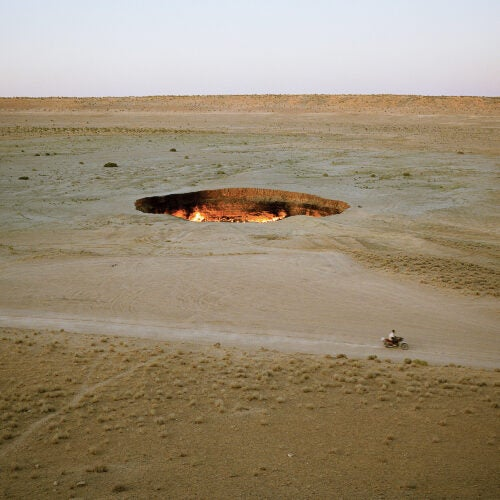 """Door to Hell,"" a giant, molten hole in Darvaza, Turkmenistan"