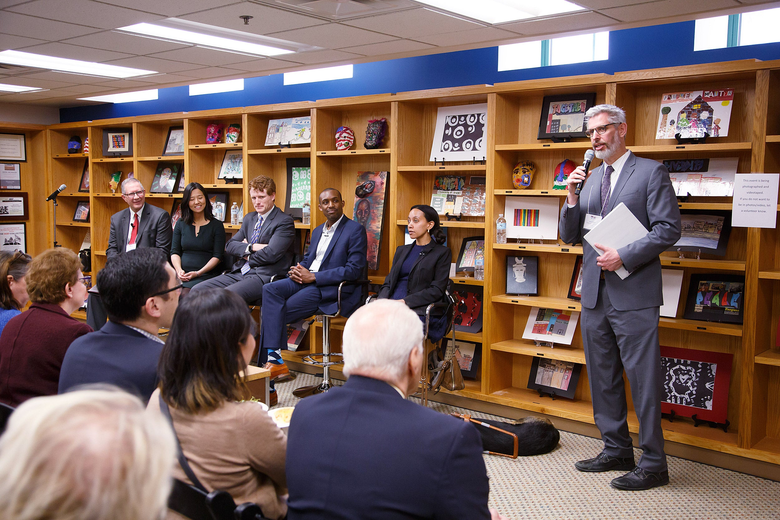 Legal Services Center Faculty Director Daniel Nagin speaks on a panel with LSC Tax Clinic Director Keith Fogg, Boston City Councilor Michelle Wu, Rep. Joseph Kennedy III, ArchCity Defenders Executive Director Blake Strode, and disability rights advocate Haben Girma.