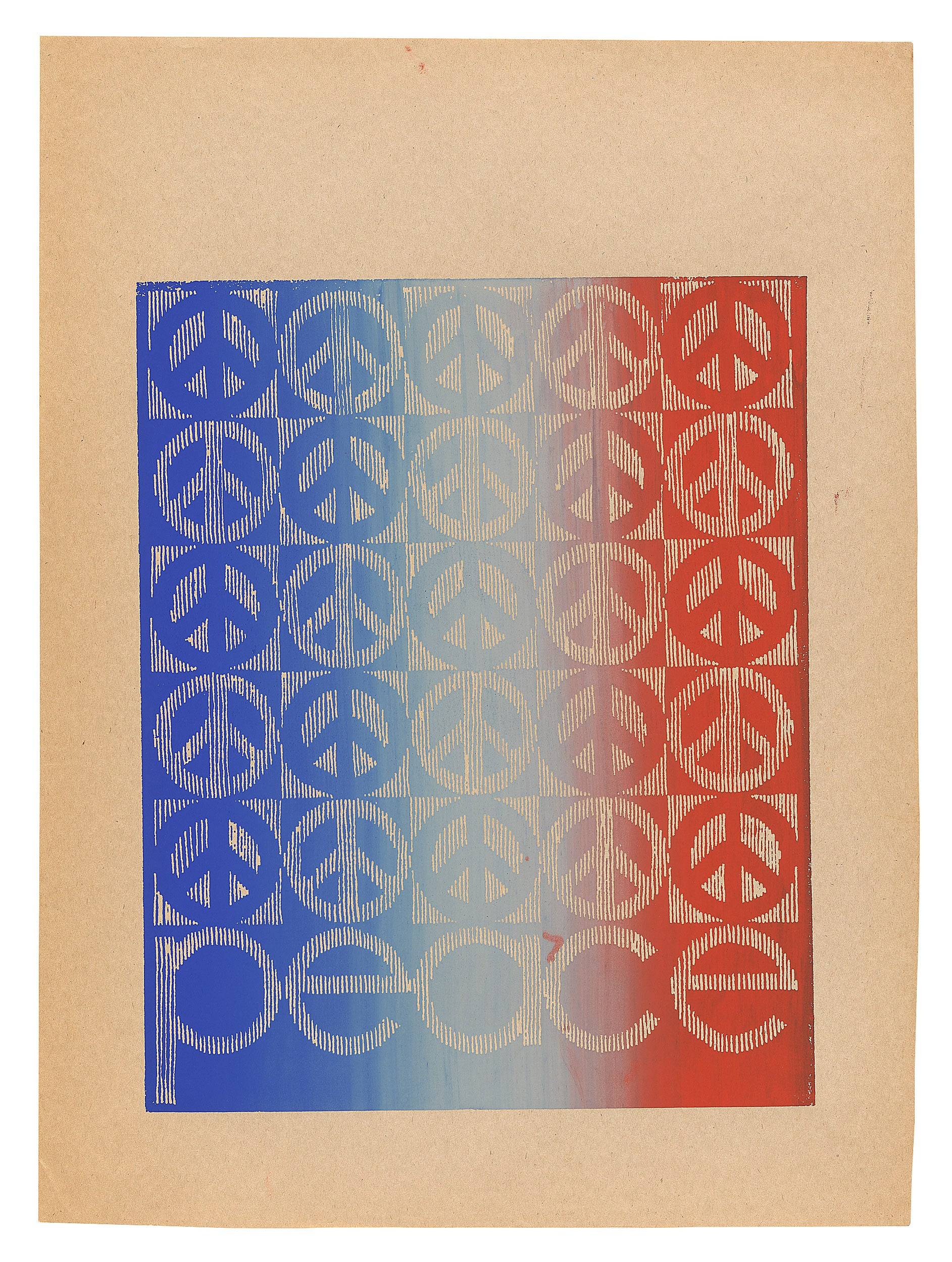 Colorful poster patterned with peace signs.