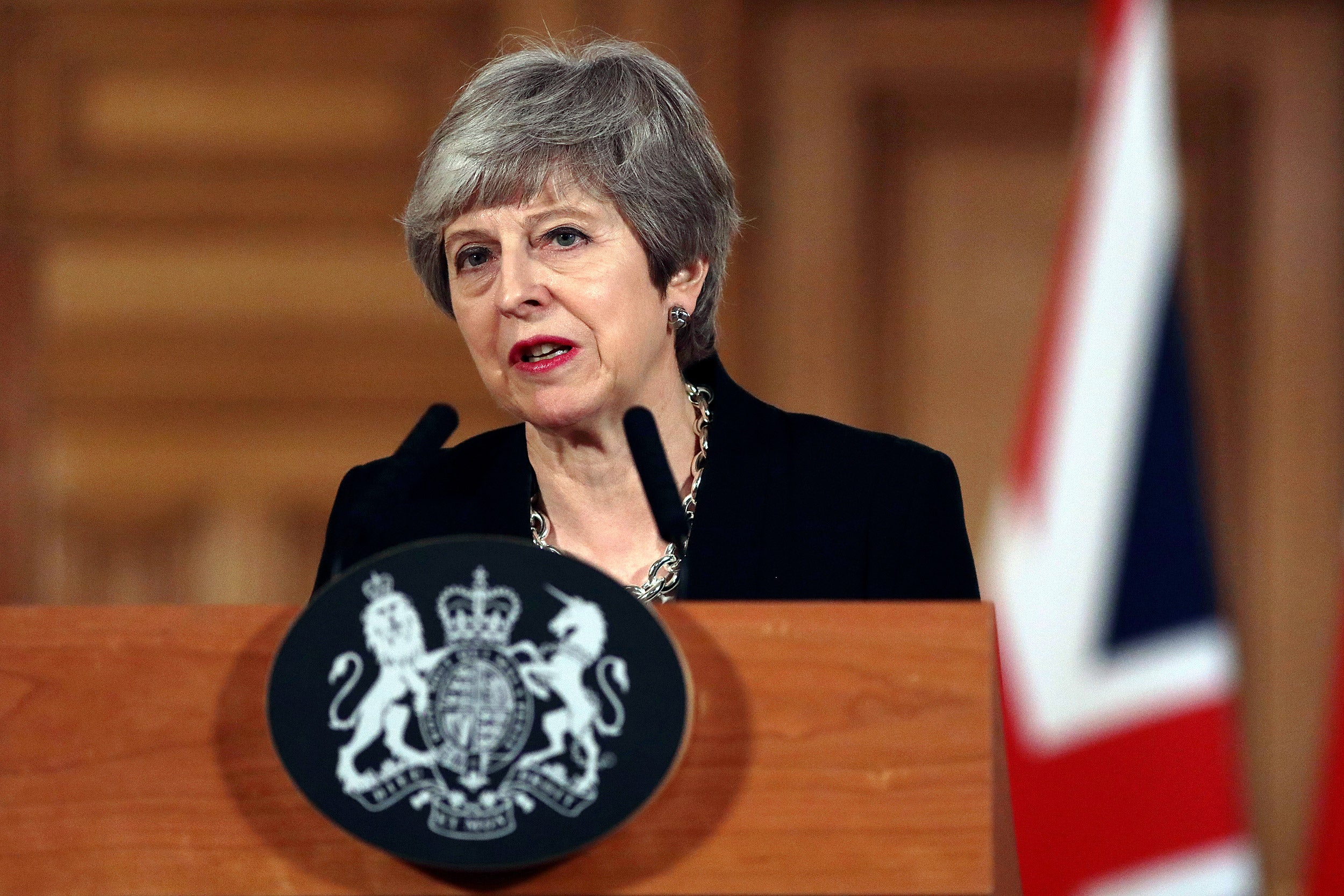 Britain's Prime Minister Theresa May gives a press conference