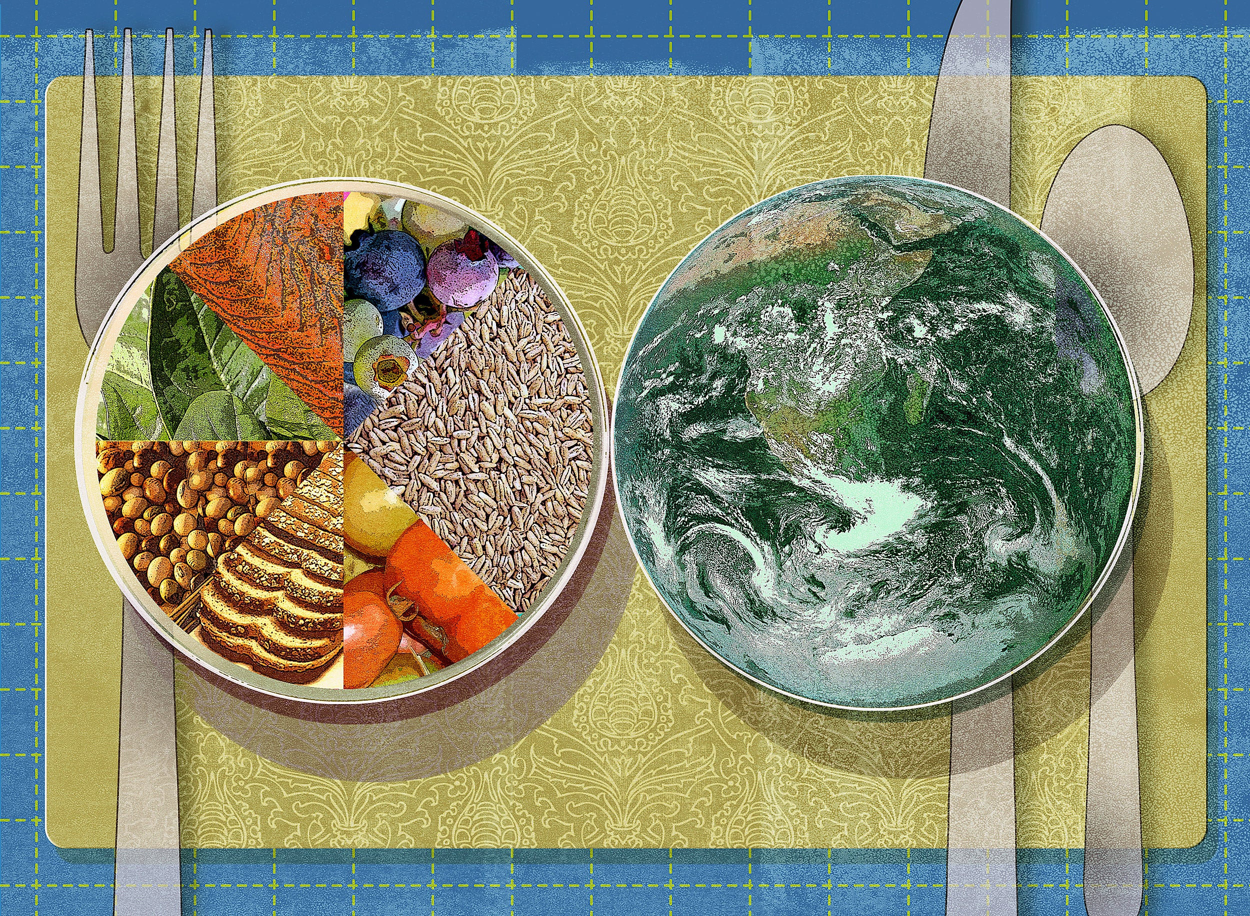 Illustration of two plates, one filled with components of a healthy diet and one filled with planet.