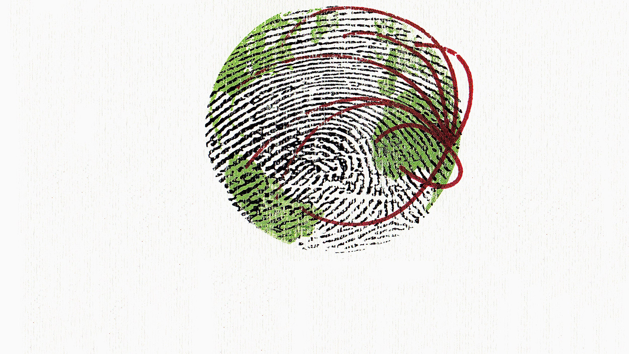 Illustration of globe overlaid with thumbprint and migration lines.