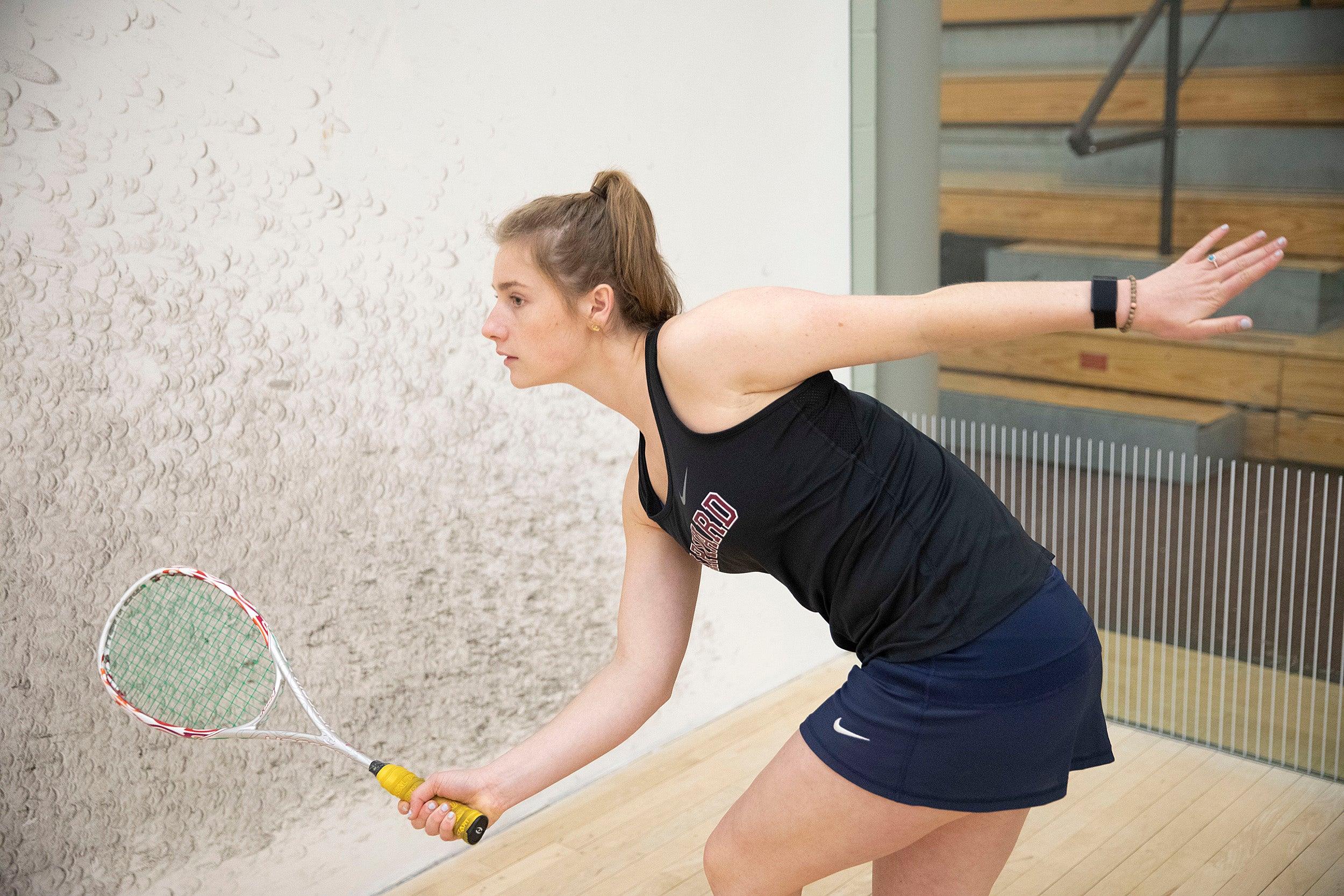 Eleonore Evans at squash practice.