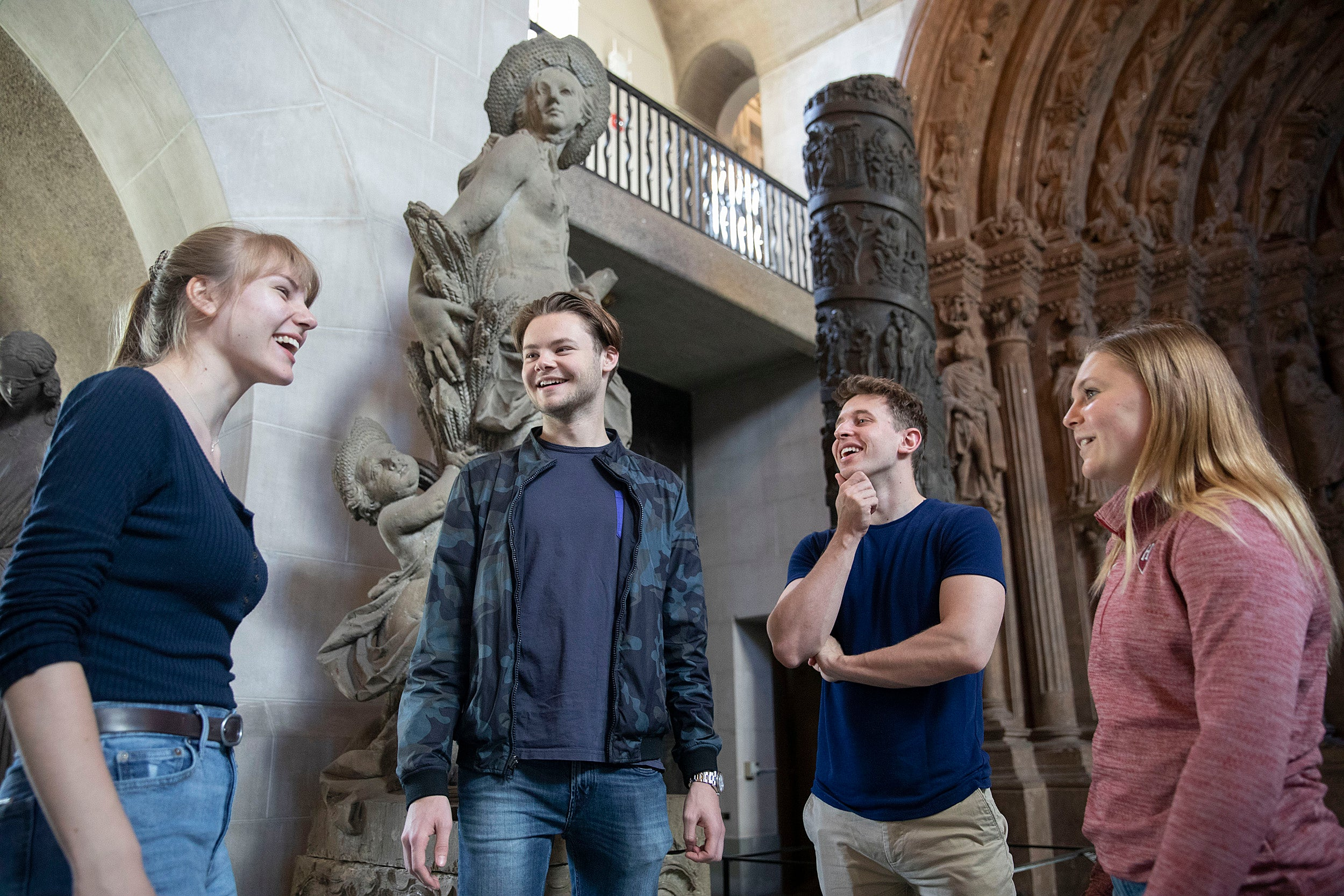 A group of German students talking