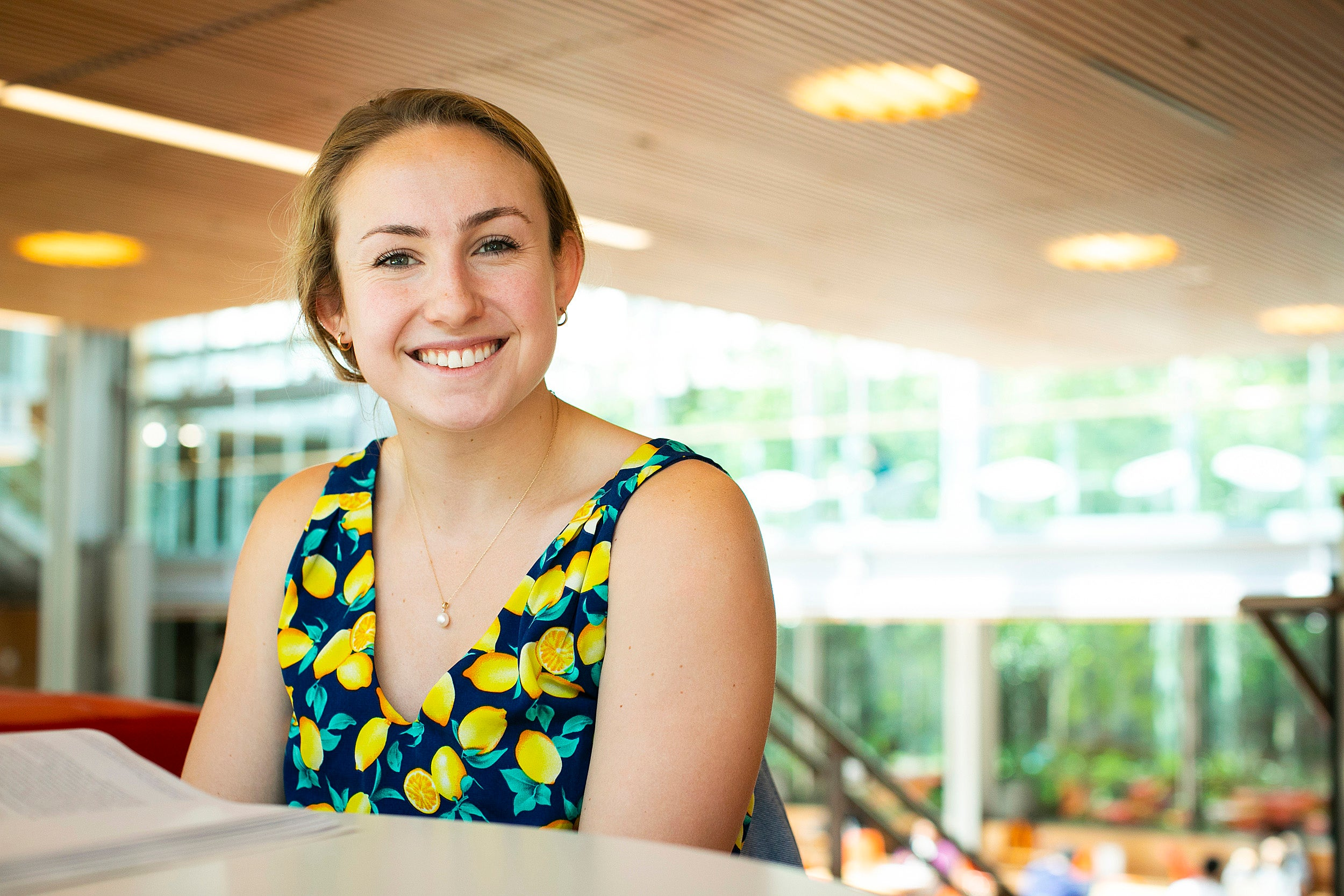 Allison Wiggins smiles in the Smith Campus Center