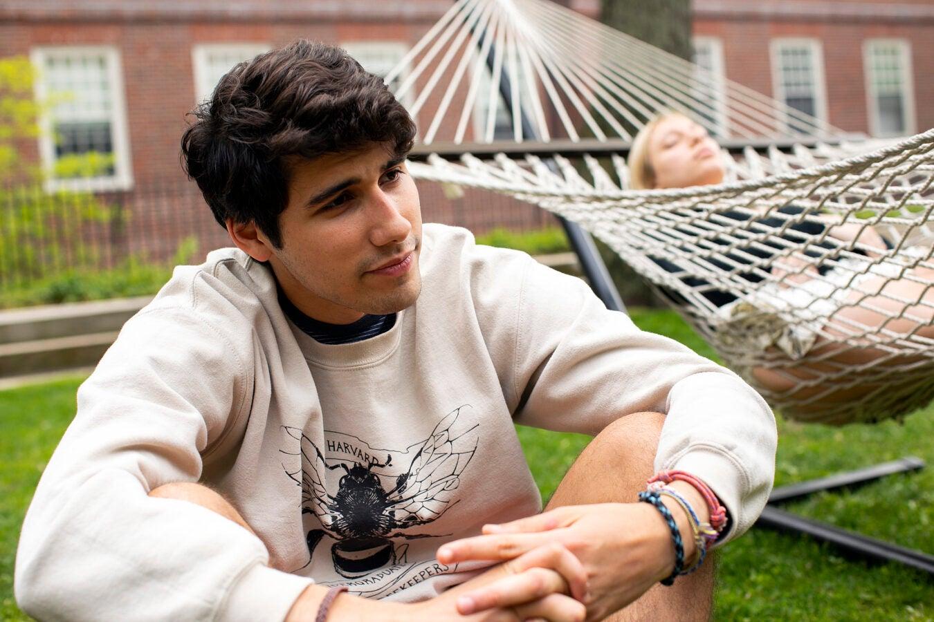 Noah Fanous in the Quincy House courtyard