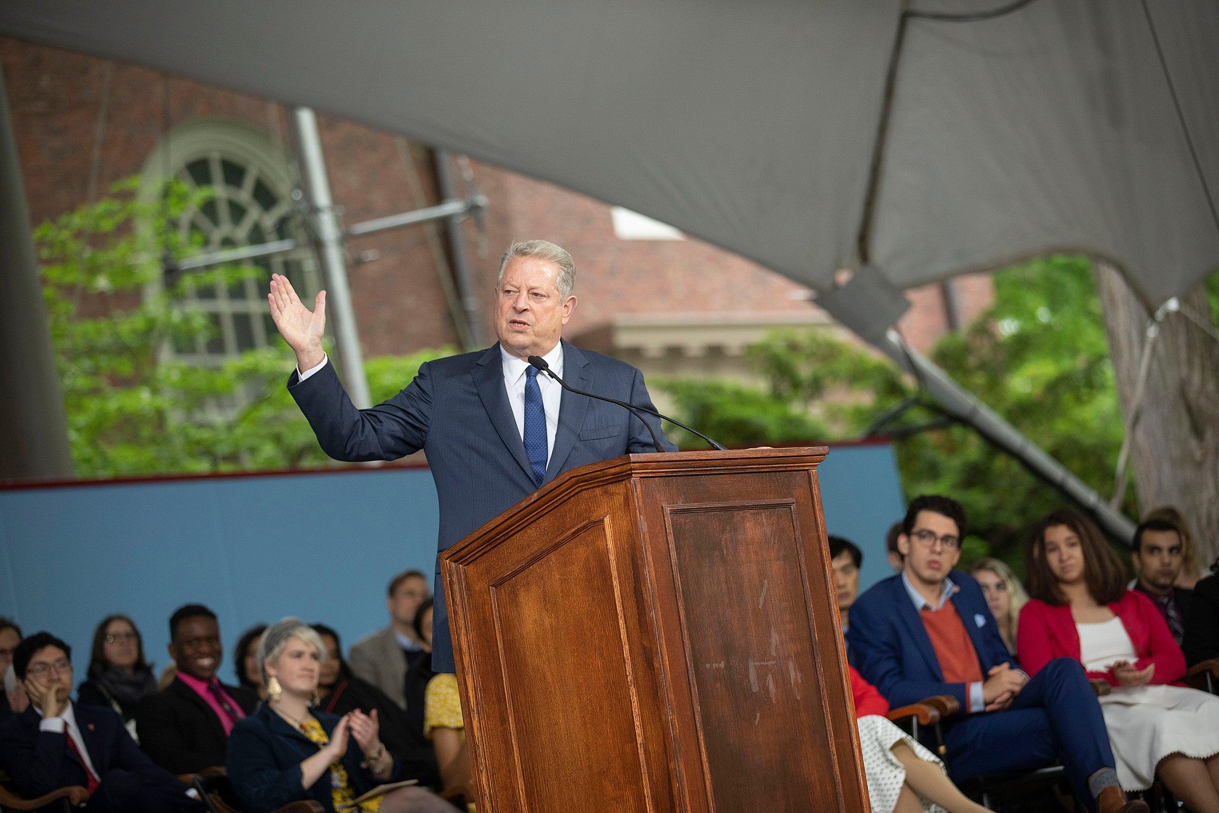 Al Gore speaks onstage