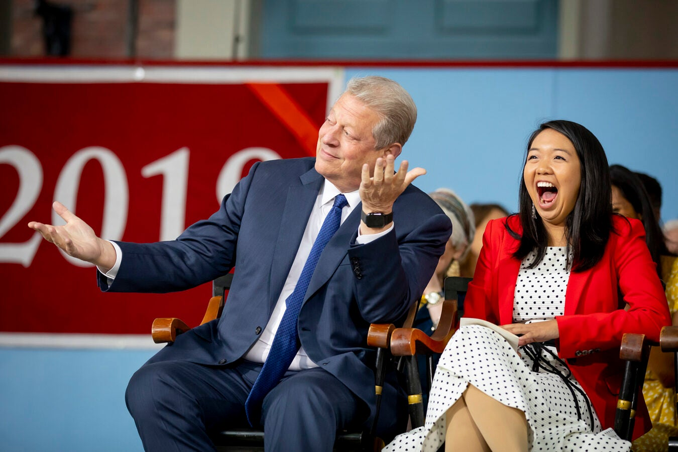 Al Gore makes First Marshal Catherine Zheng laugh during Class Day