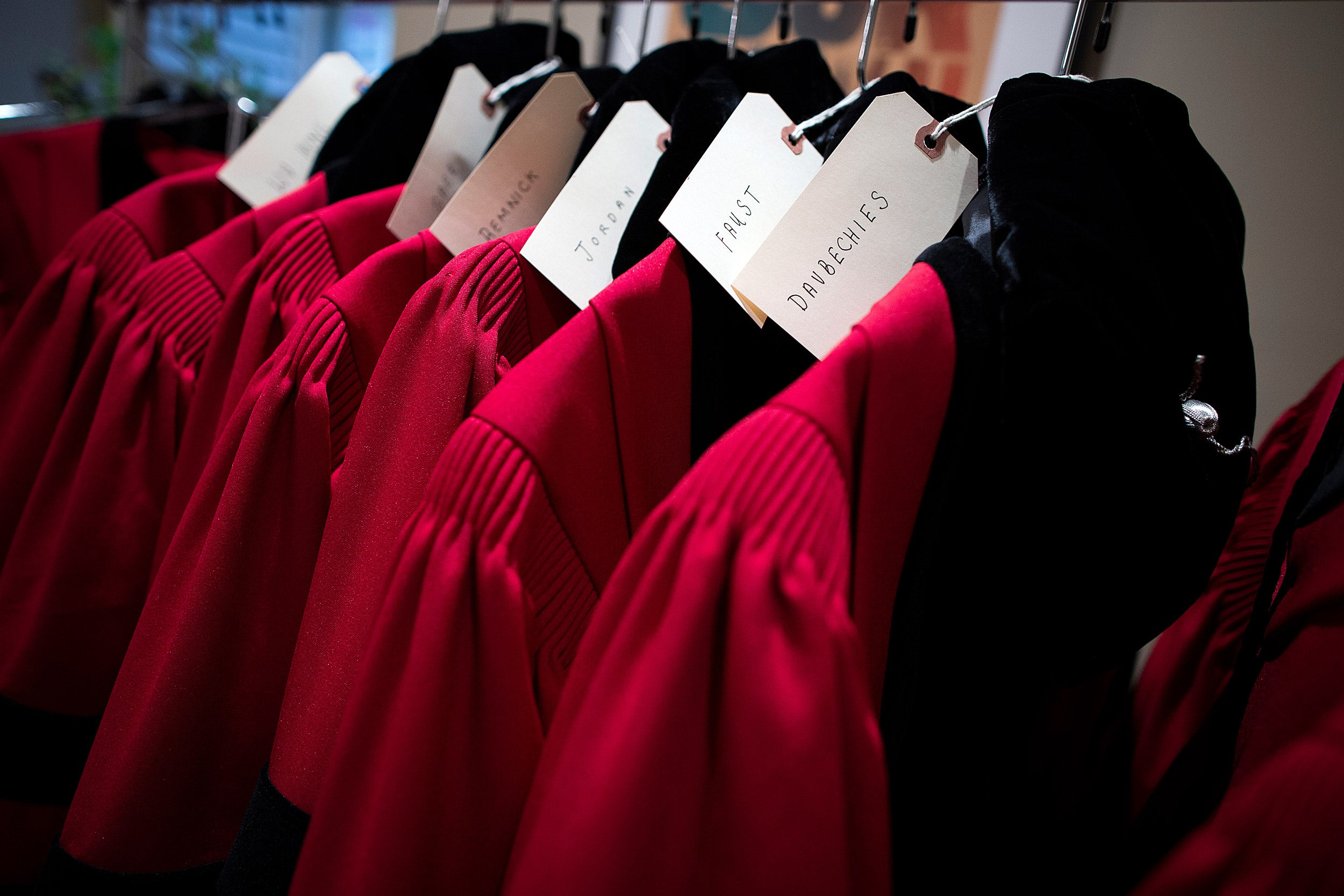A row of robes await honorary degree recipients at Harvard's 368th Commencement.