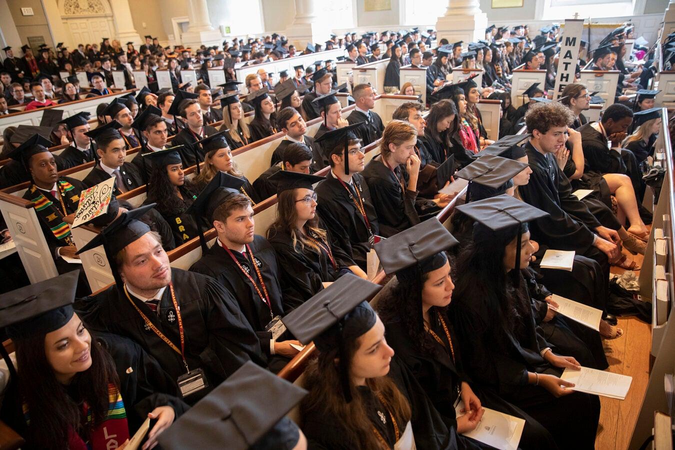 Students attend Senior Chapel service in Harvard Memorial Church