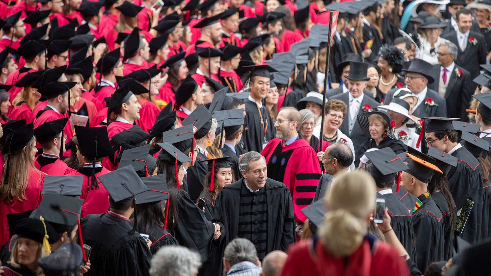 Harvard President Larry Bacow, leads the procession to the Morning Exercises