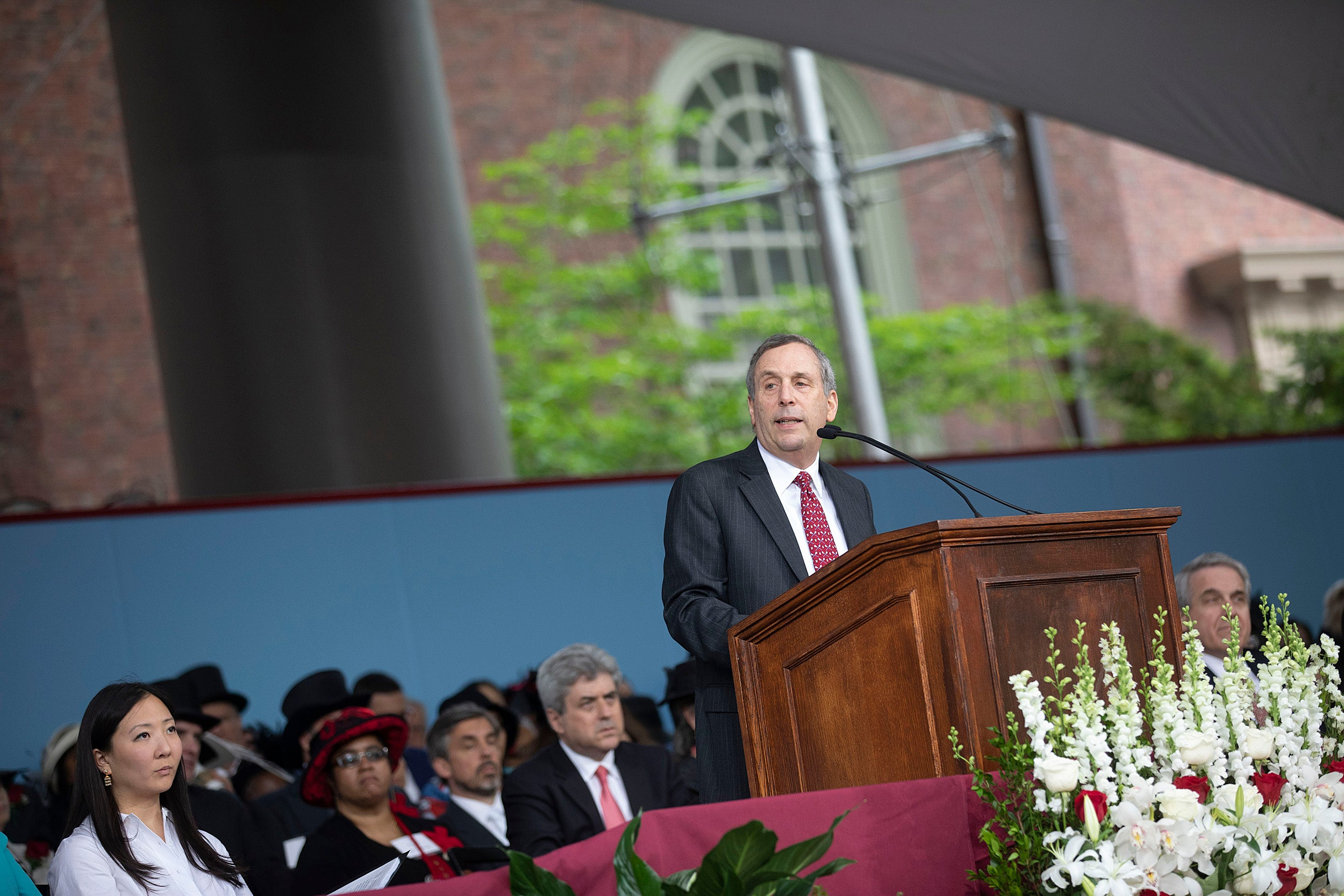 President Larry Bacow speaks at the Afternoon Program.
