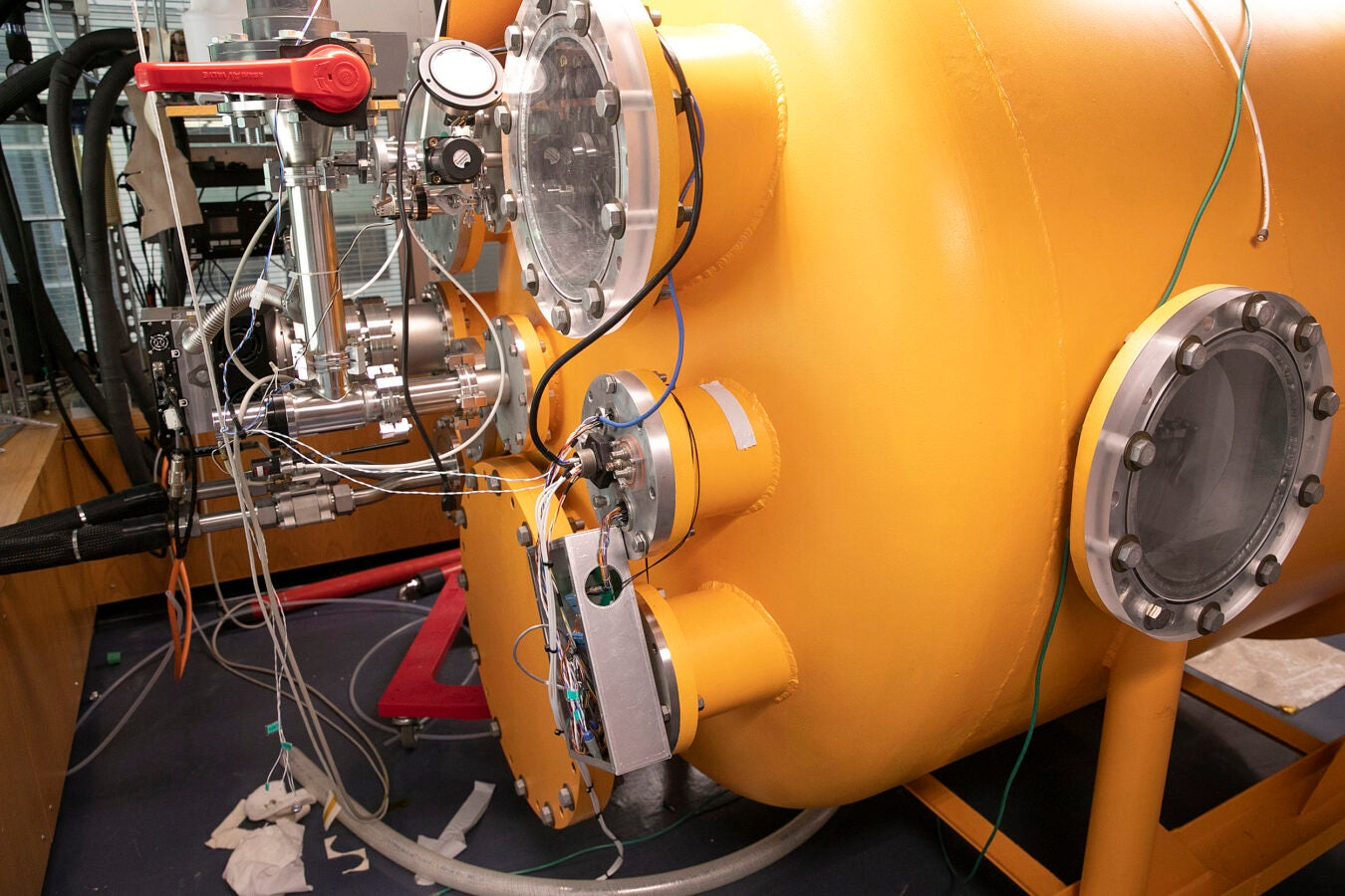 A thermal vacuum chamber used to simulate temperatures and air pressure at higher altitudes.