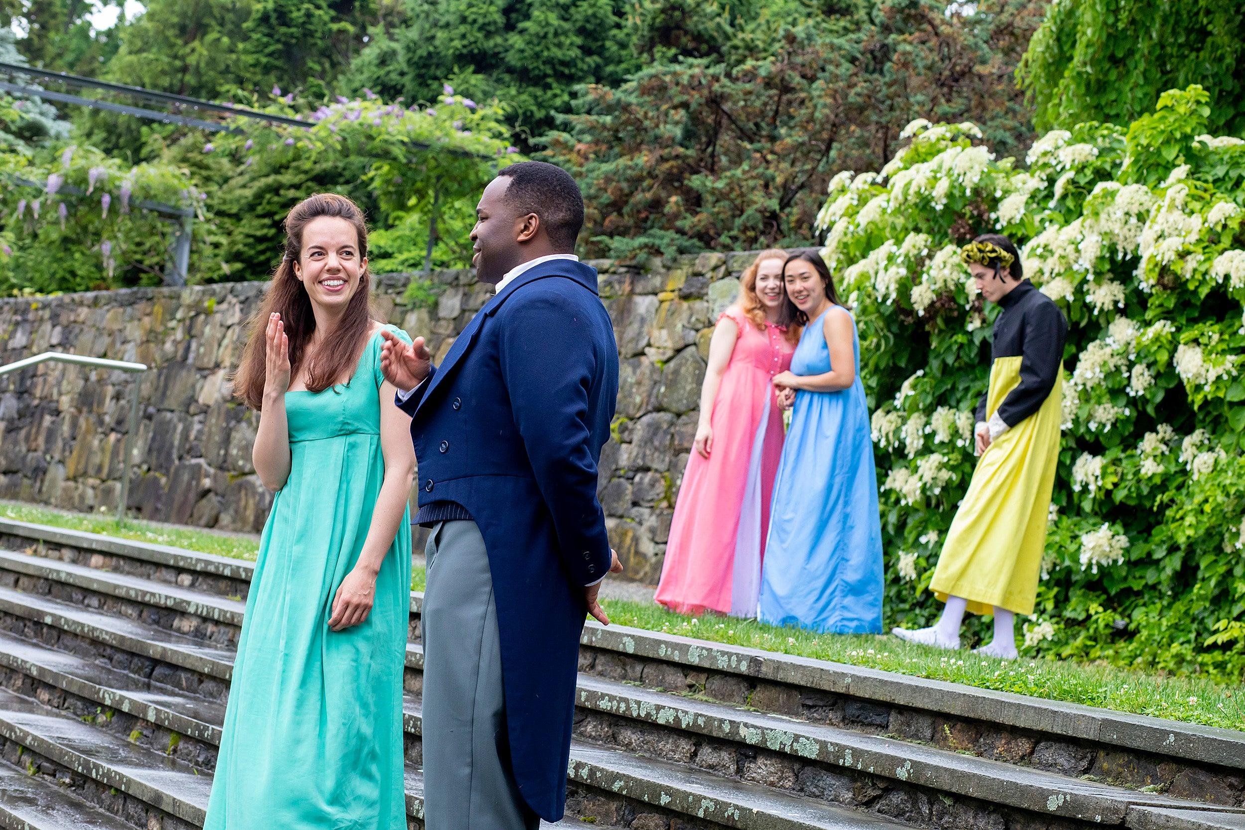 the cast of pride and prejudice rehearses in the Arboretum