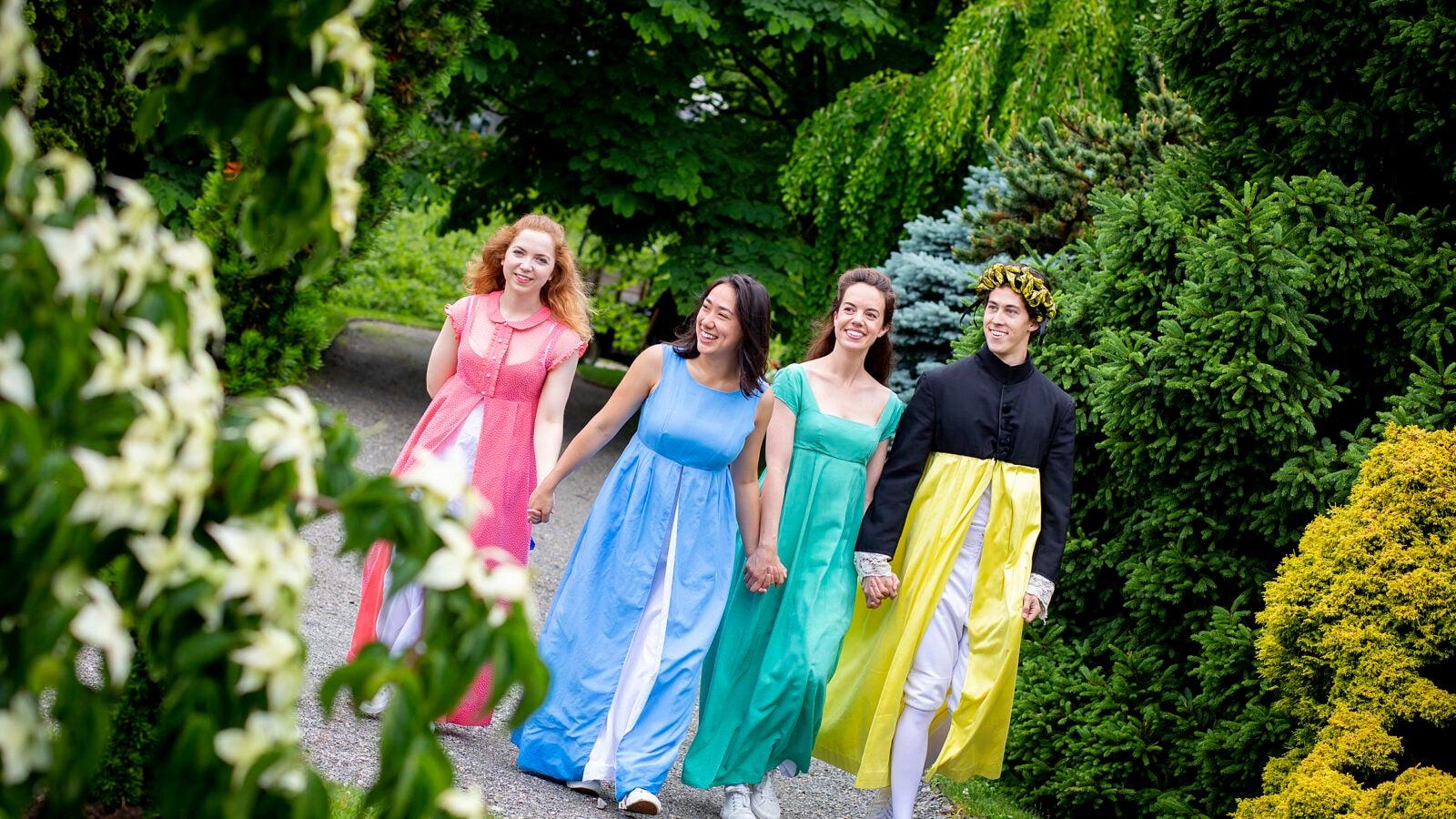 The cast of Pride in Prejudice walking through the Arboretum
