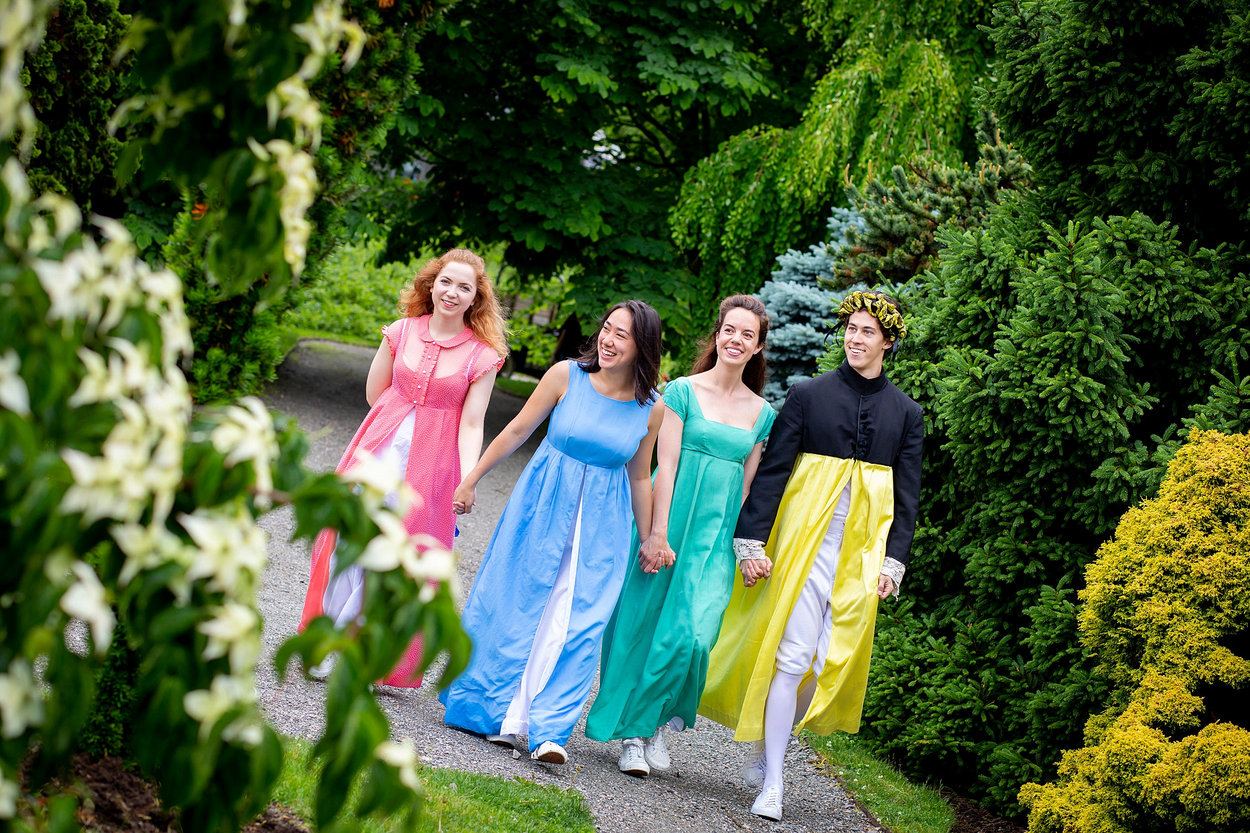 The cast of Pride in Prejudice walking through the Arboretum