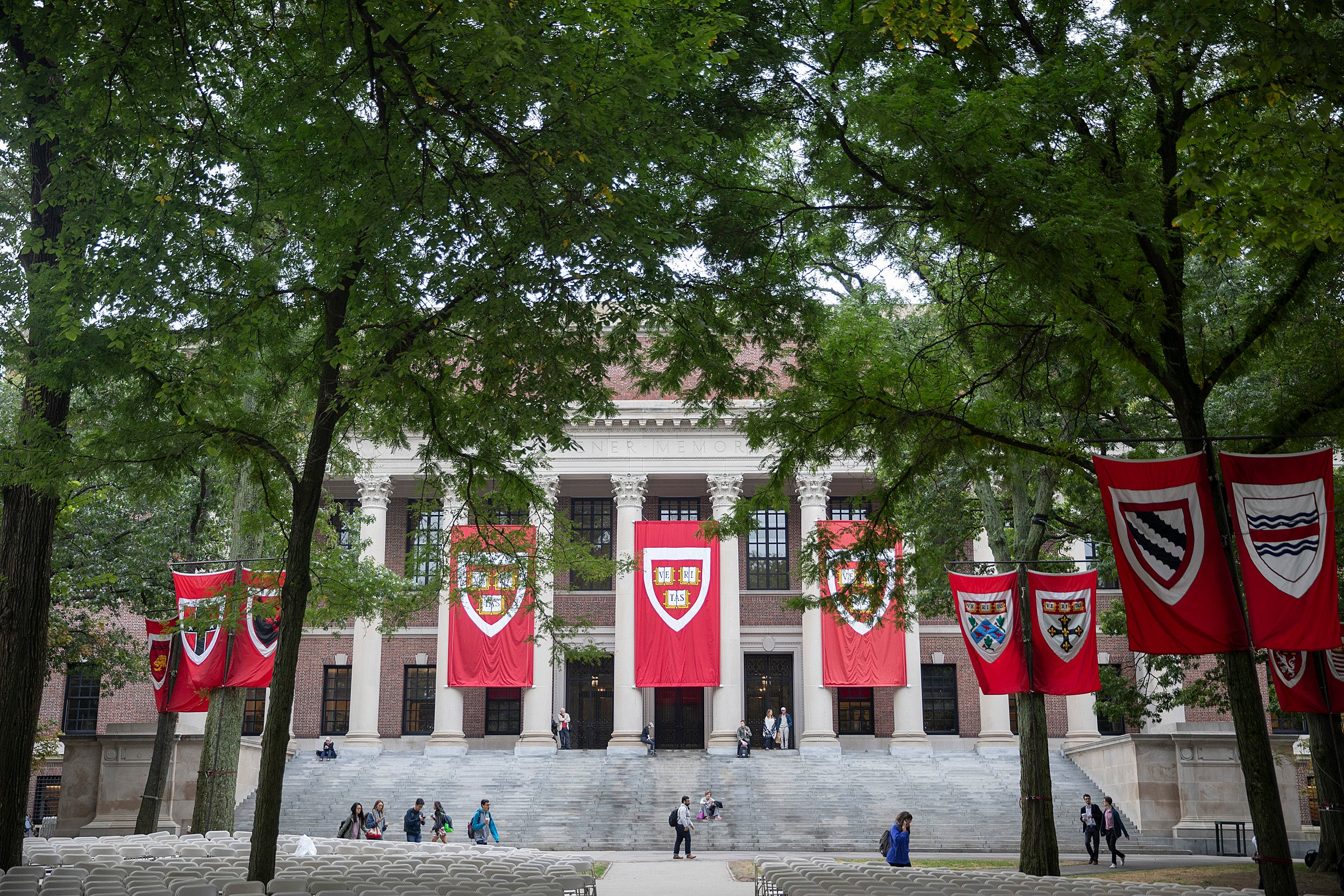 Widener Library decorated with Harvard banners