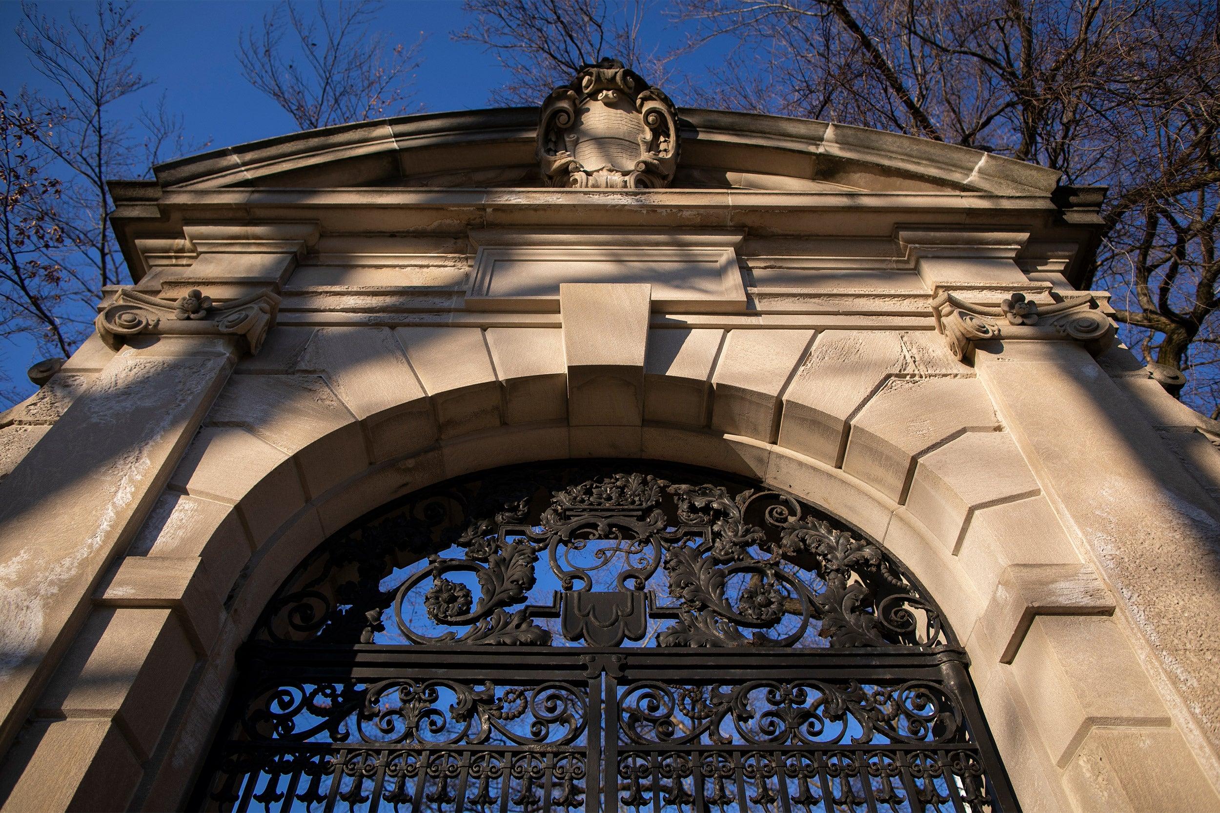 One of Harvard's many ornate gates.