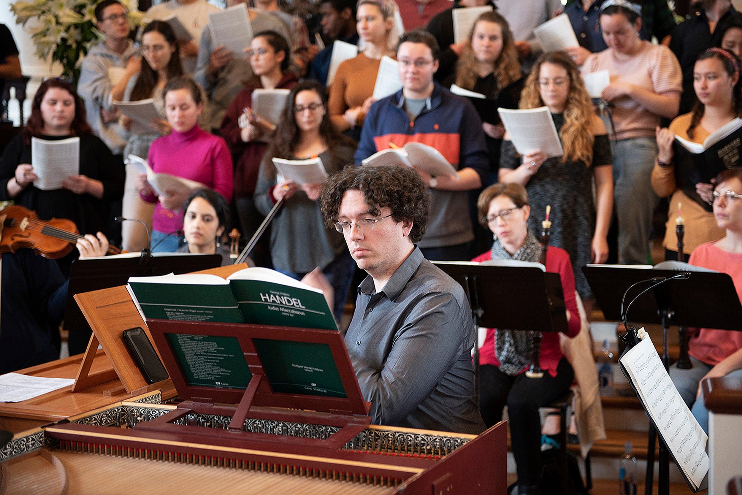 Tom Sheehan plays the harpsichord