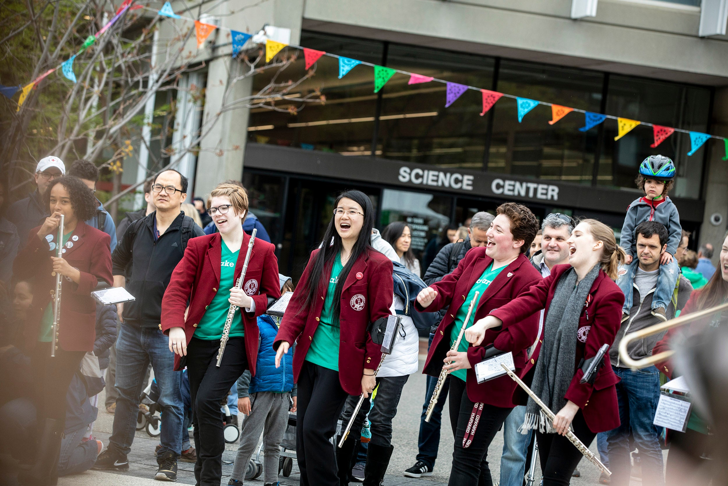 Harvard Marching Band performs on Science Center Plaza.