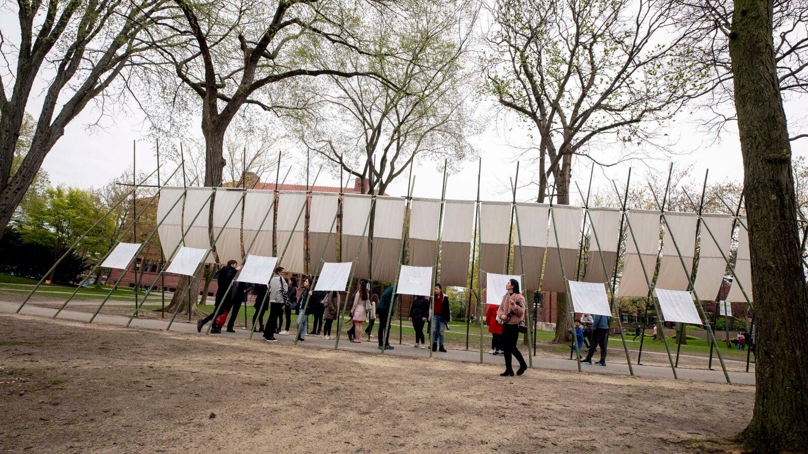 Outdoor art exhibition in Tercentenary Theatre.