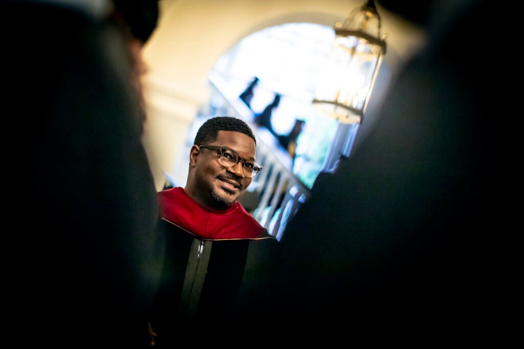 Johnathan Walton in Memorial Church during the Baccalaureate Service.
