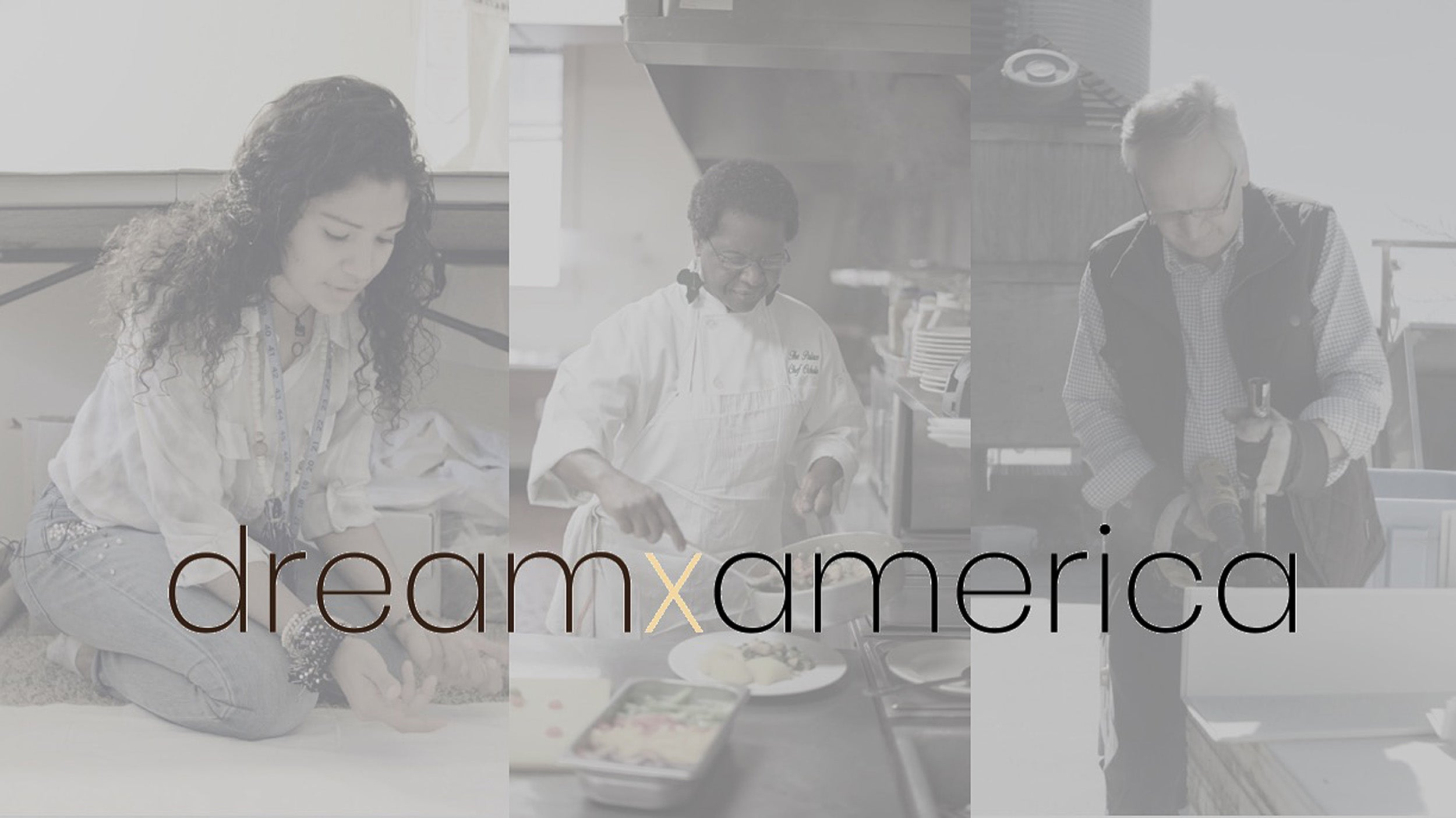 "grayscale poster of ""dream America"" with participants in the background"