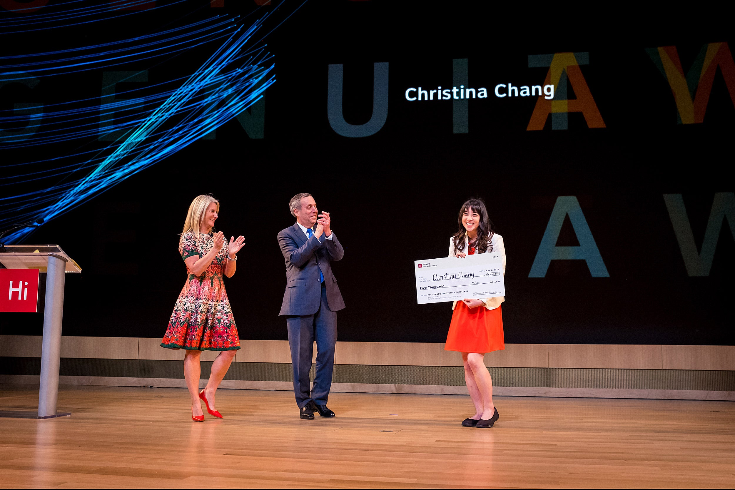 Bacow and Goldstein congratulate Christina Chang