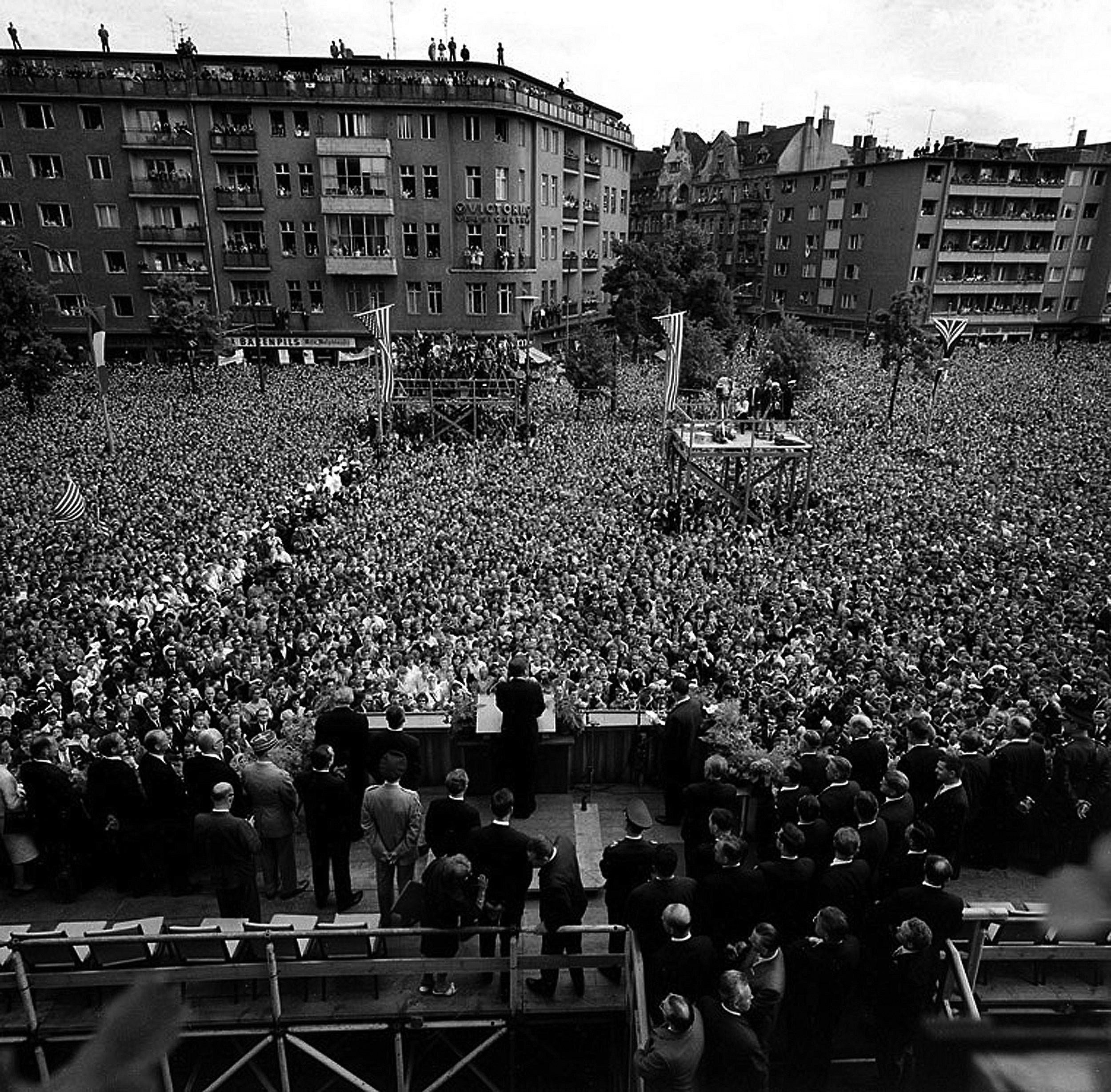President Kennedy addresses the people of Berlin in 1963.