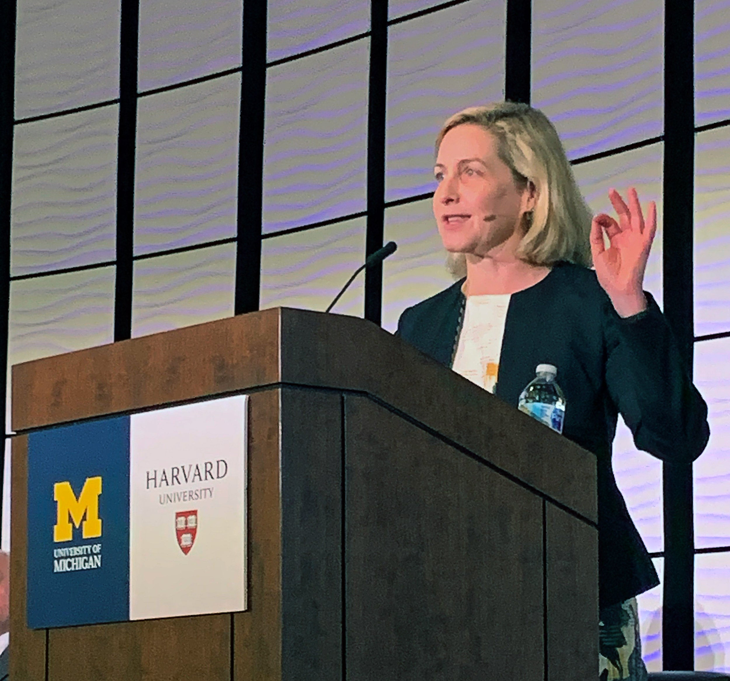Meredith Rosenthal from the Chan School speaking at the University of Michigan