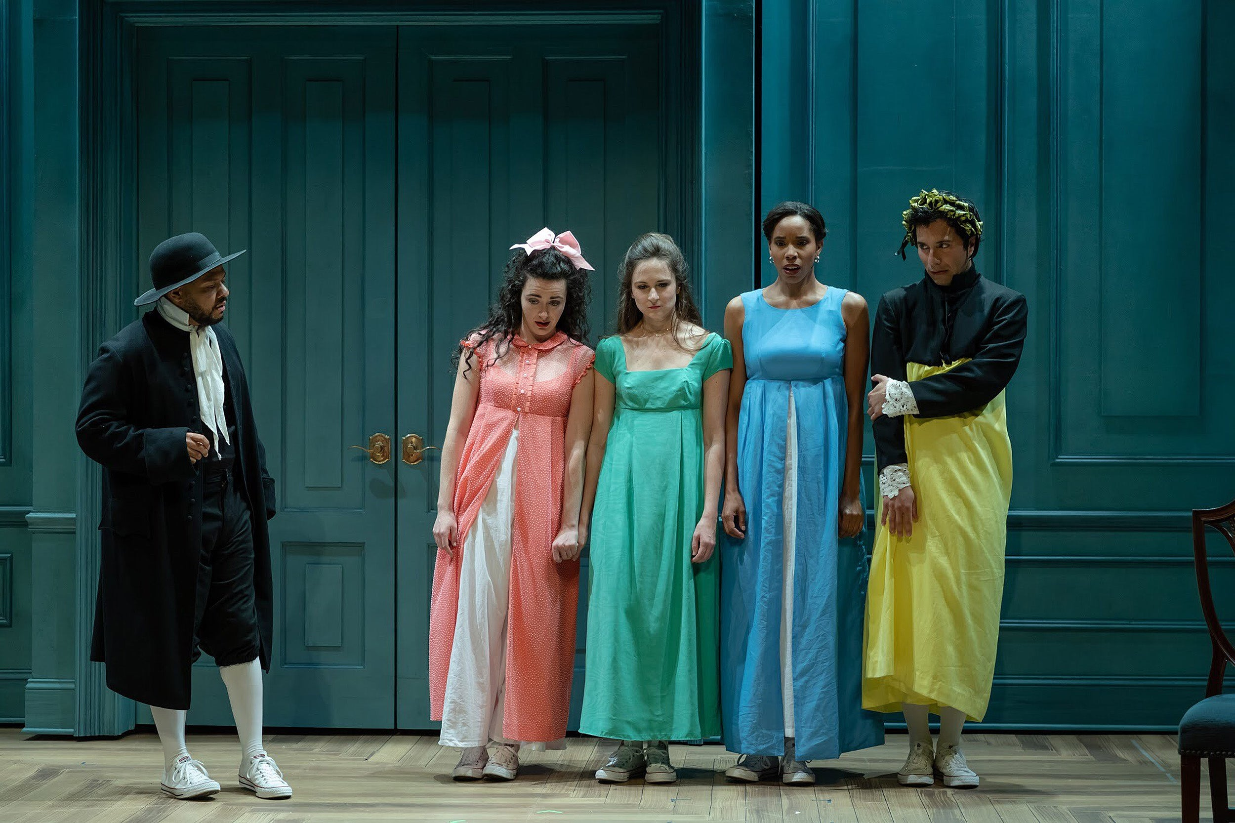 """A scene from the playwright Kate Hamill's adaptation of the Jane Austen classic """"Pride and Prejudice."""" The Actor's Shakespeare Project is staging the production, directed by Christopher Edwards, at Harvard's Arnold Arboretum in June."""