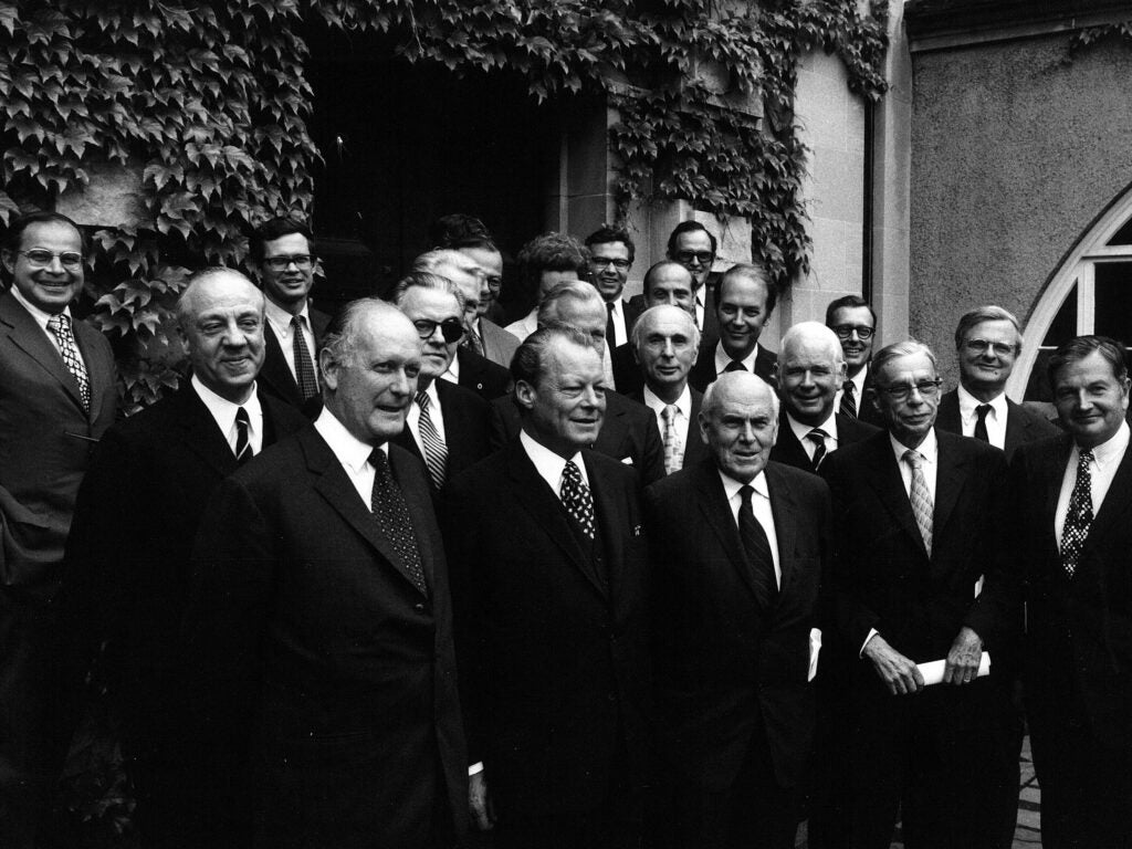 Group photo of dignitaries at the founding ceremony of the German Marshall Fund in 1972.