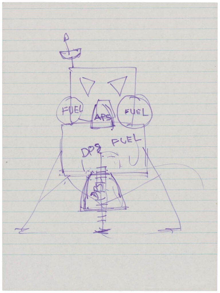 A sketch Neil Armstrong made of the lunar module to explain the upcoming Apollo 11 mission to his father.