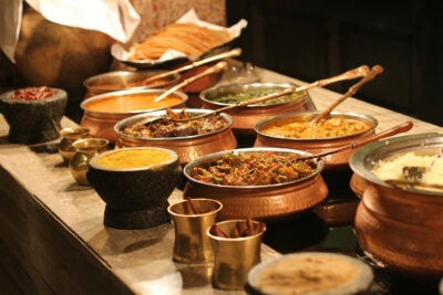 Indian food buffet.