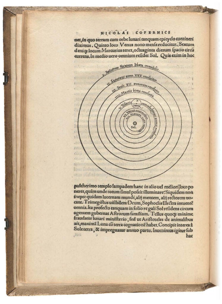 Diagram from Nicolaus Copernicus places the sun at the center of the solar system.