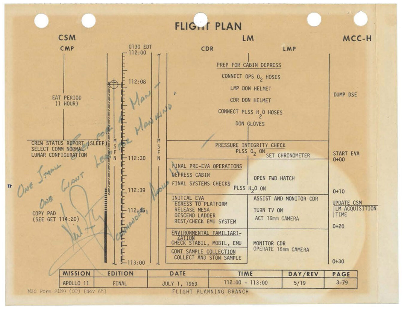 "Flight plan inscribed with Neil Armstrong's famous line: ""That's one small step for [a] man, one giant leap for mankind."""