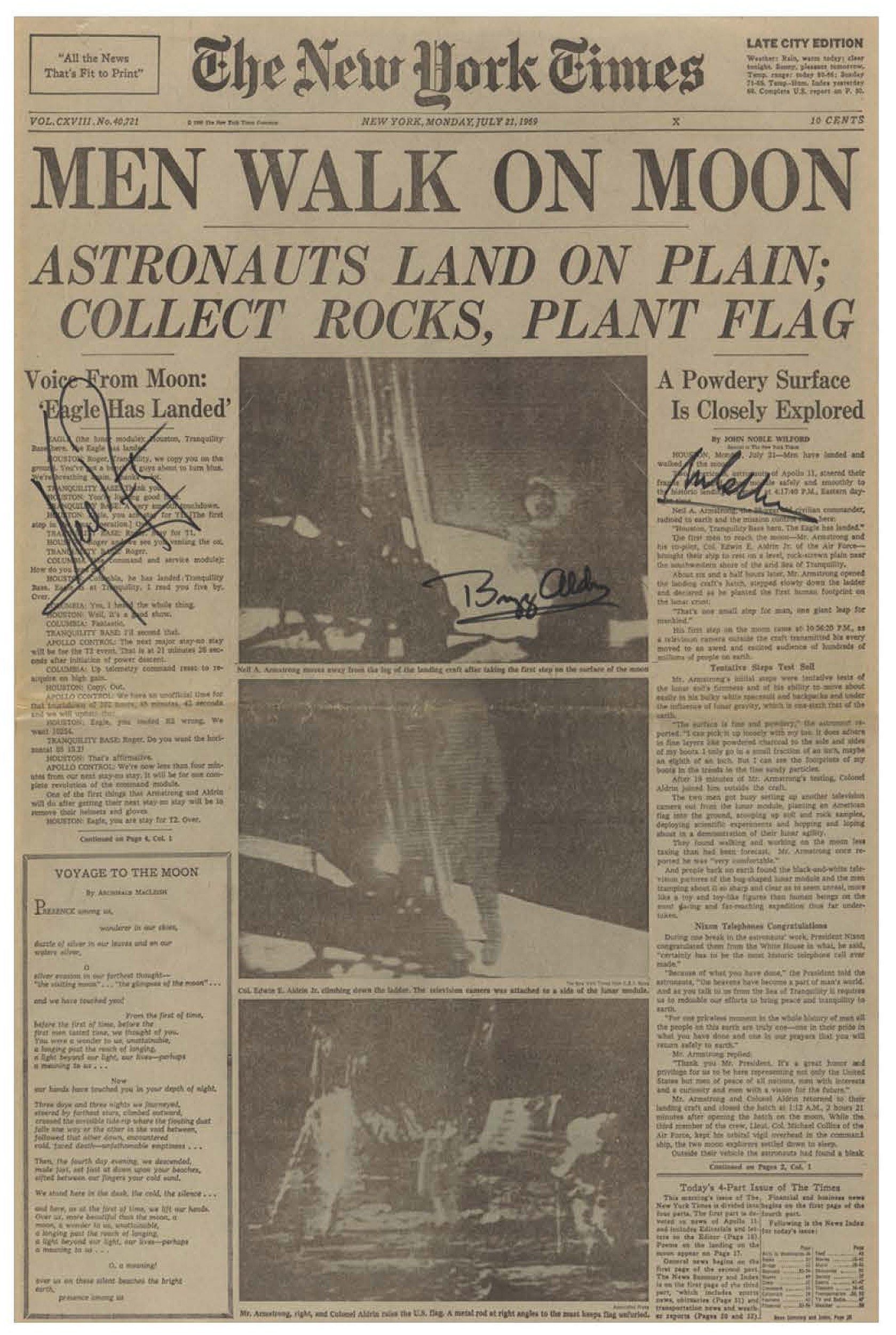 New York Times front page announcing moon landing with lead headline: MEN WALK ON MOON.