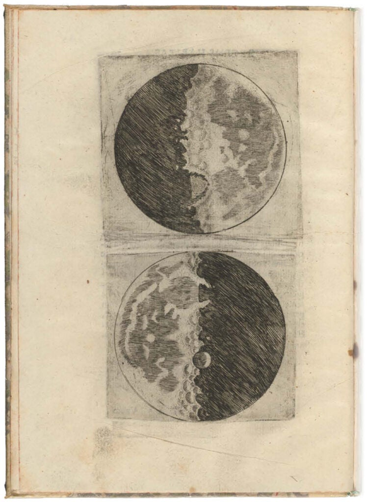 "Page from Galileo's ""Siderius Nuncius"" shows first images of the moon as observed through a telescope."