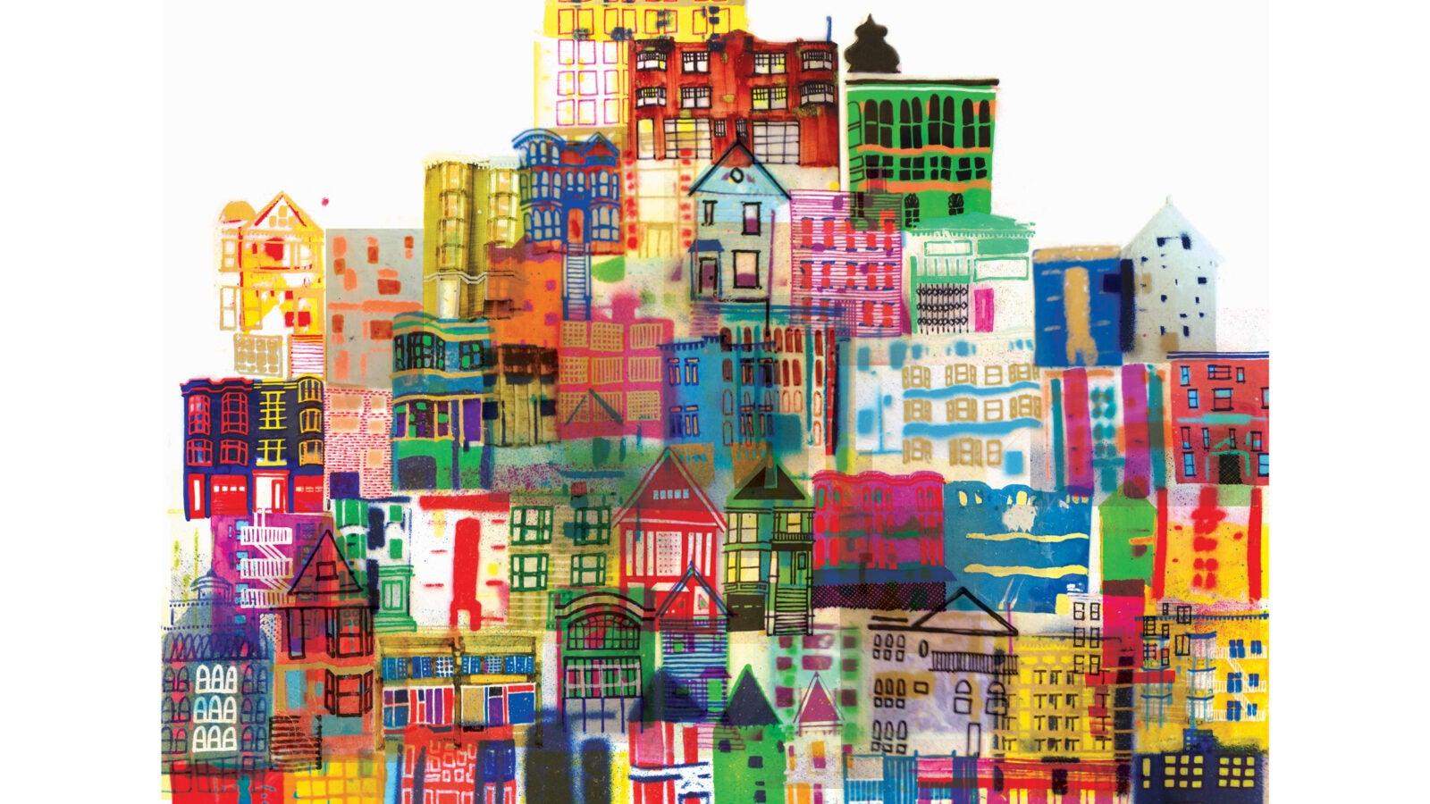 Illustration of bright multi-colored buildings.