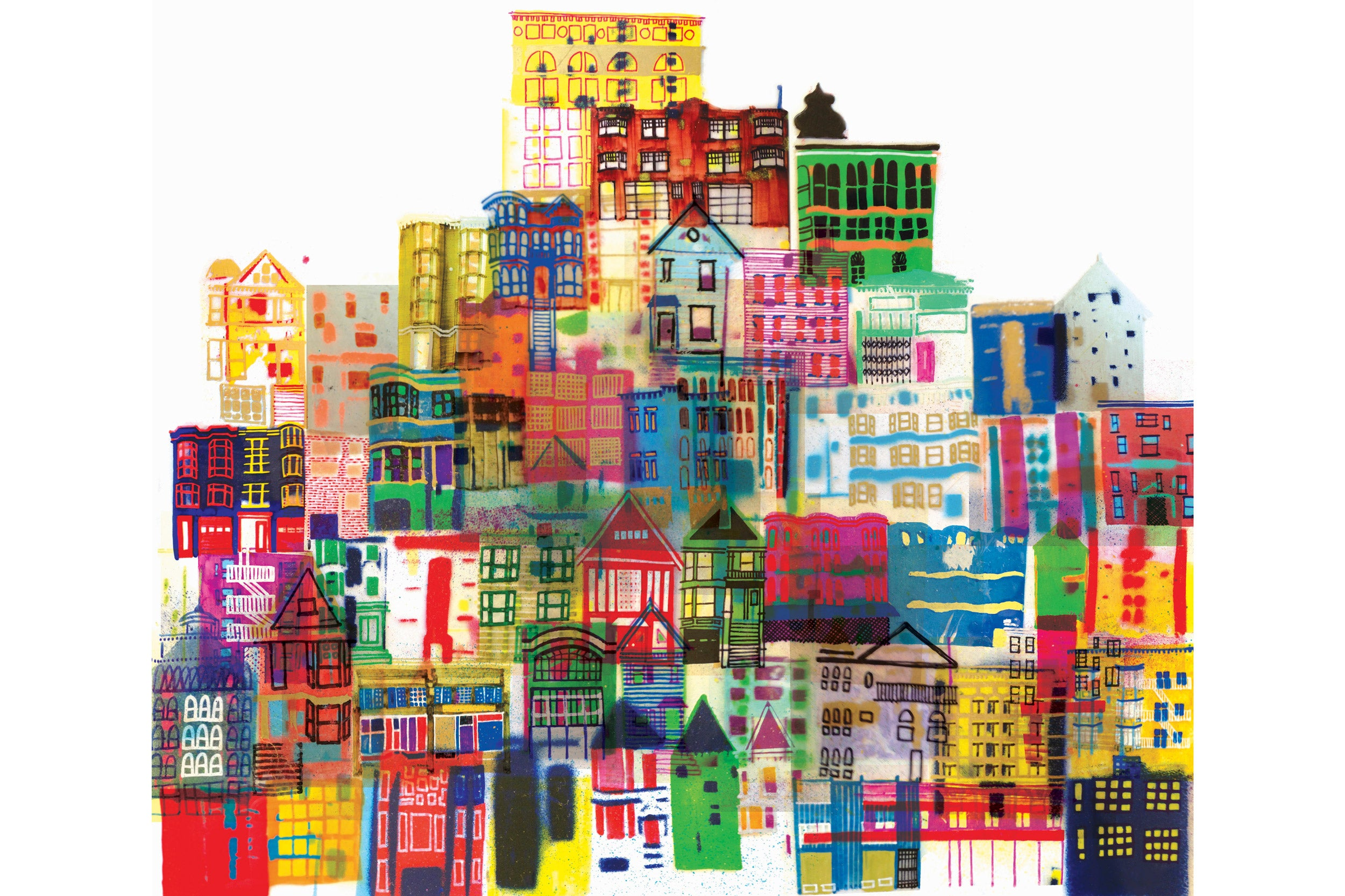 Illustration of bright multi-colored buildings.