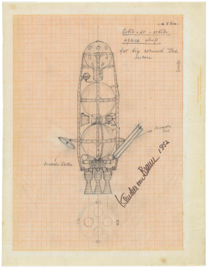 An early rocket drawing by space architect Wernher von Braun.
