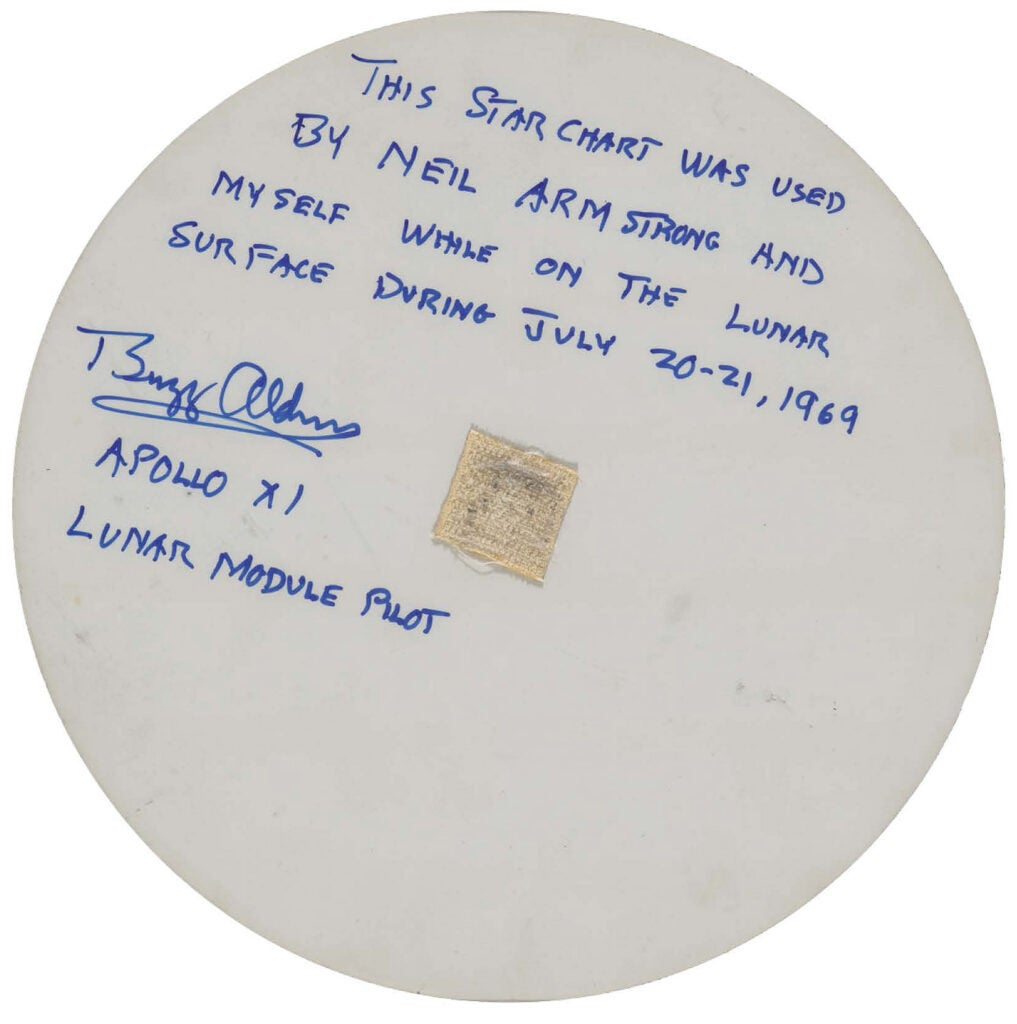 Back of the star chart used by Apollo 11 astronauts.