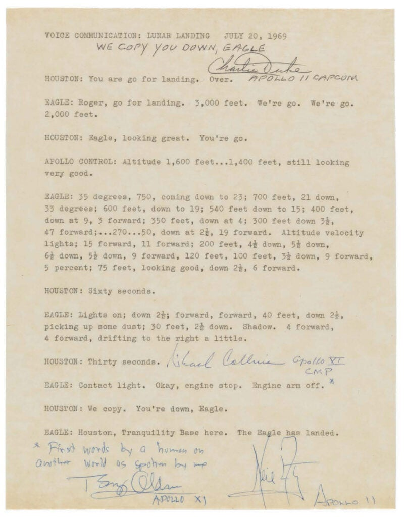 "Transcript of Apollo 11 communications, including ""The Eagle has landed."""